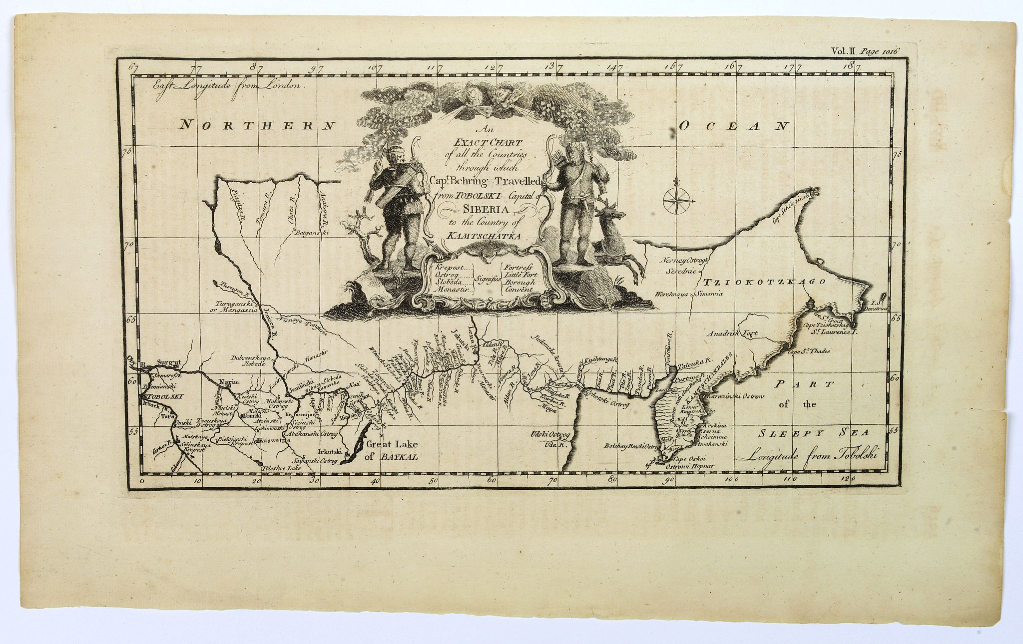 BOWEN, E. -  An exact chart of the countries through wich Capt. Behring travelled from Tobolsky capital of Siberia ti the country of Kamtschatka.