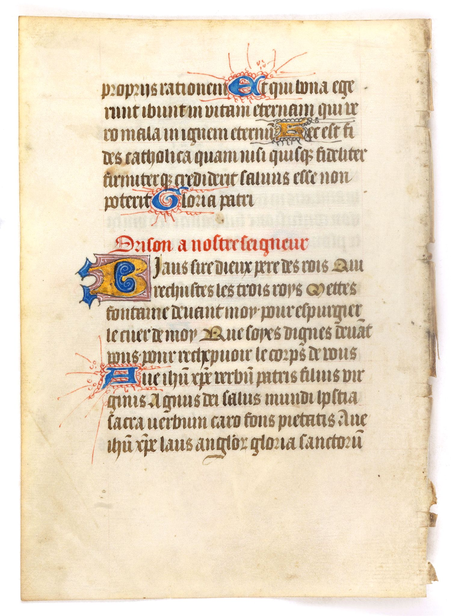 BOOK OF HOURS -  Leaf on vellum from a manuscript Book of Hours.