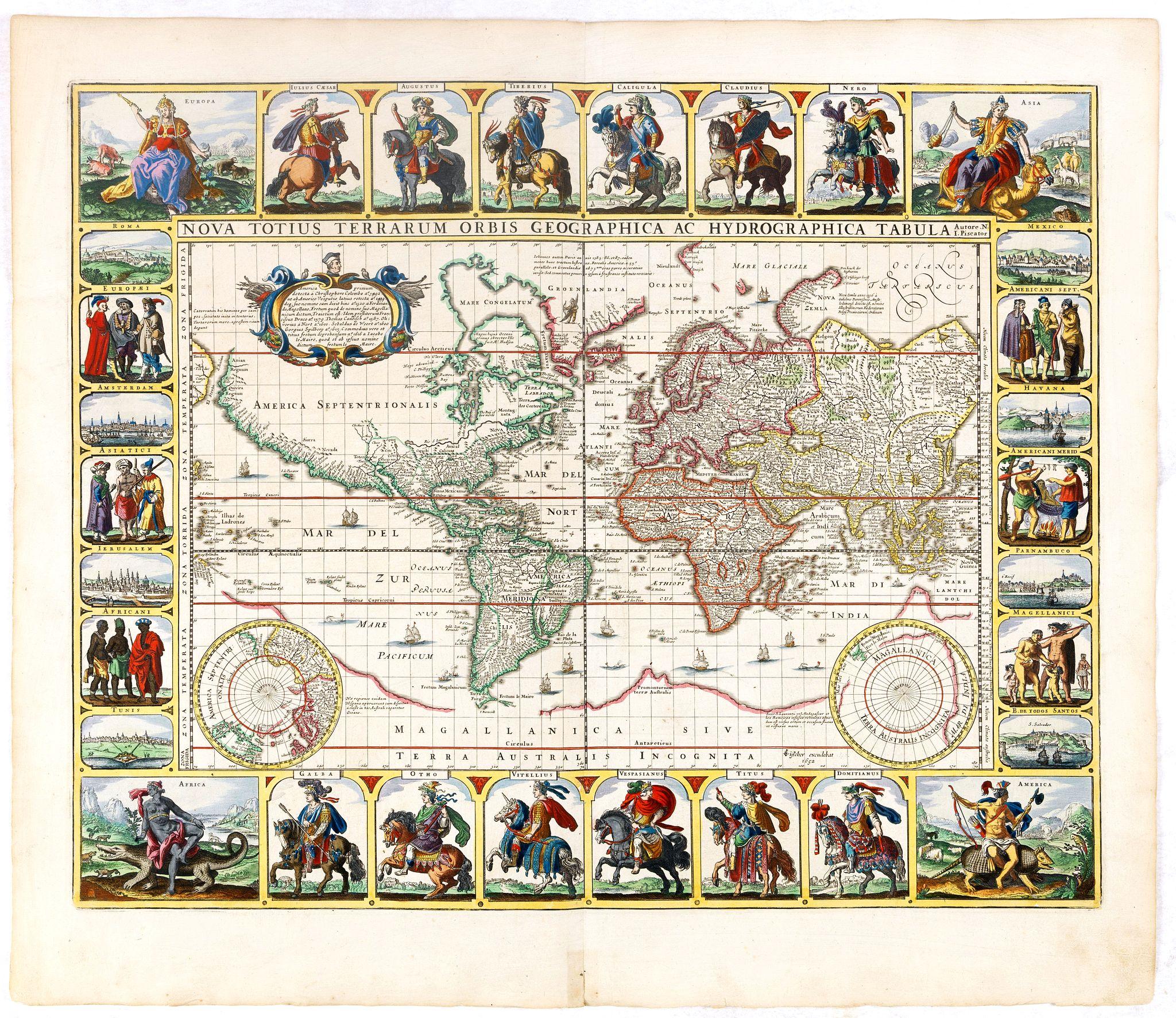 VISSCHER, C.Janz. -  Nova Totius Terrarum Orbis Geographica ac Hydrographica tabula.
