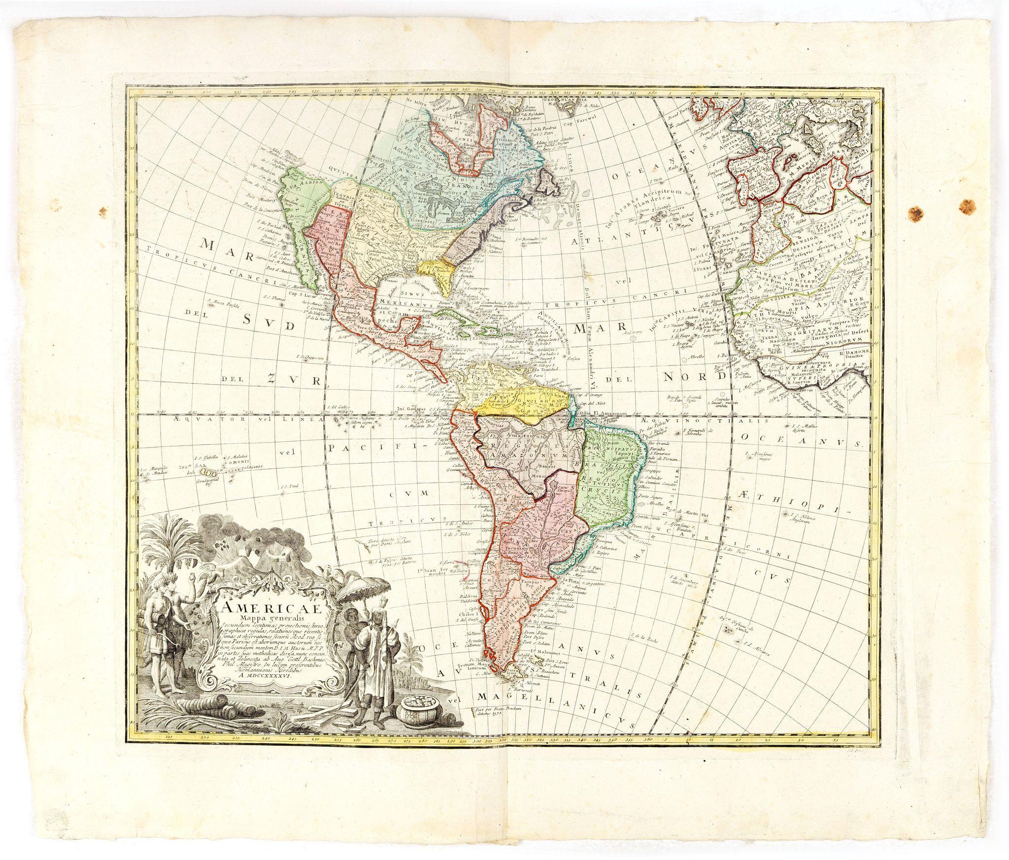 HOMANN HEIRS. / HAAS, J.M. -  Americae Mappa generalis Secundum legimitas projectionis Stereiographiae regulas. . . MDCCXXXXVI
