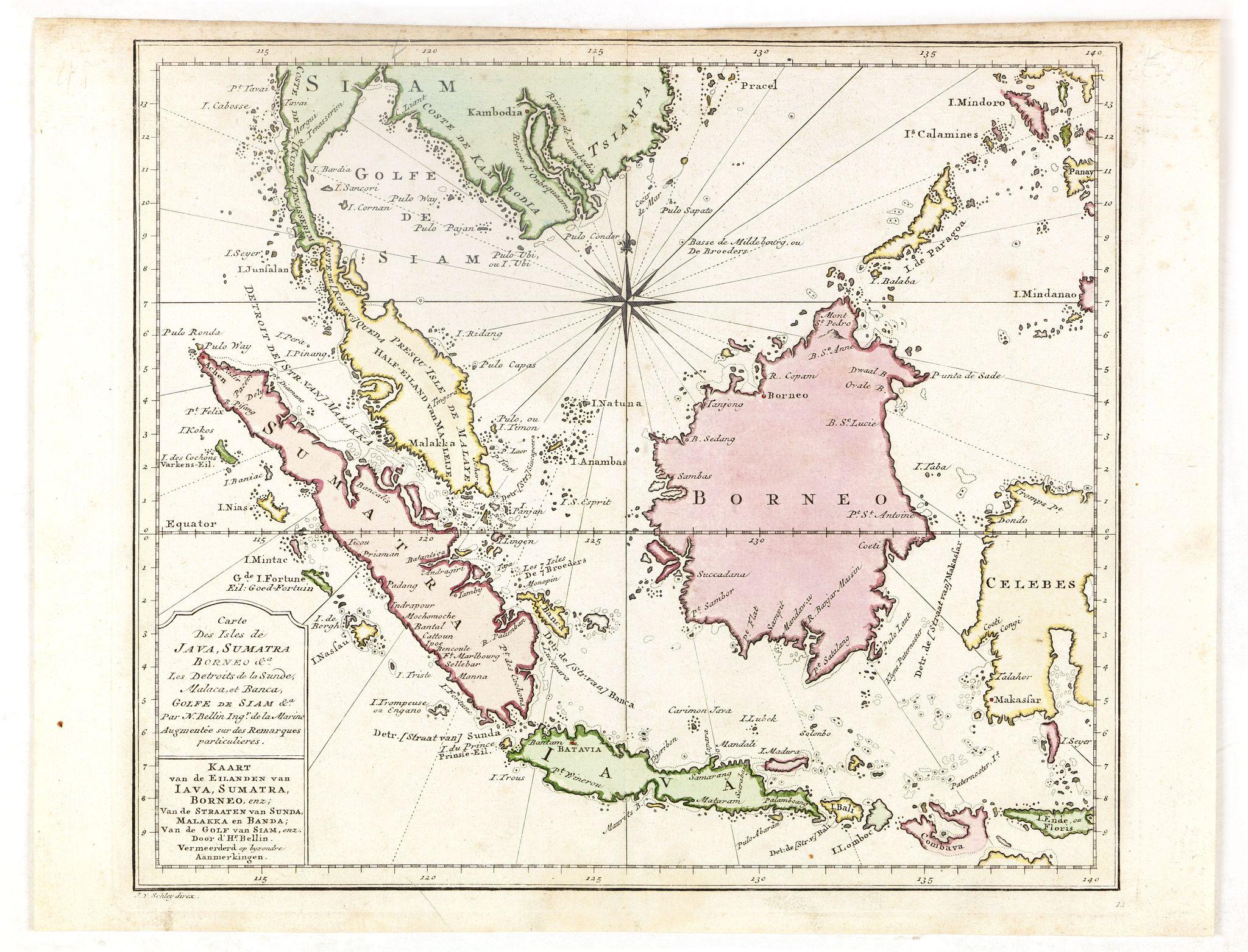 BELLIN, J.N. -  Carte des Isles de Java, Sumatra, Borneo. . . Malaca et Banca. . . / Kaart van de Eilanden van Java. . .