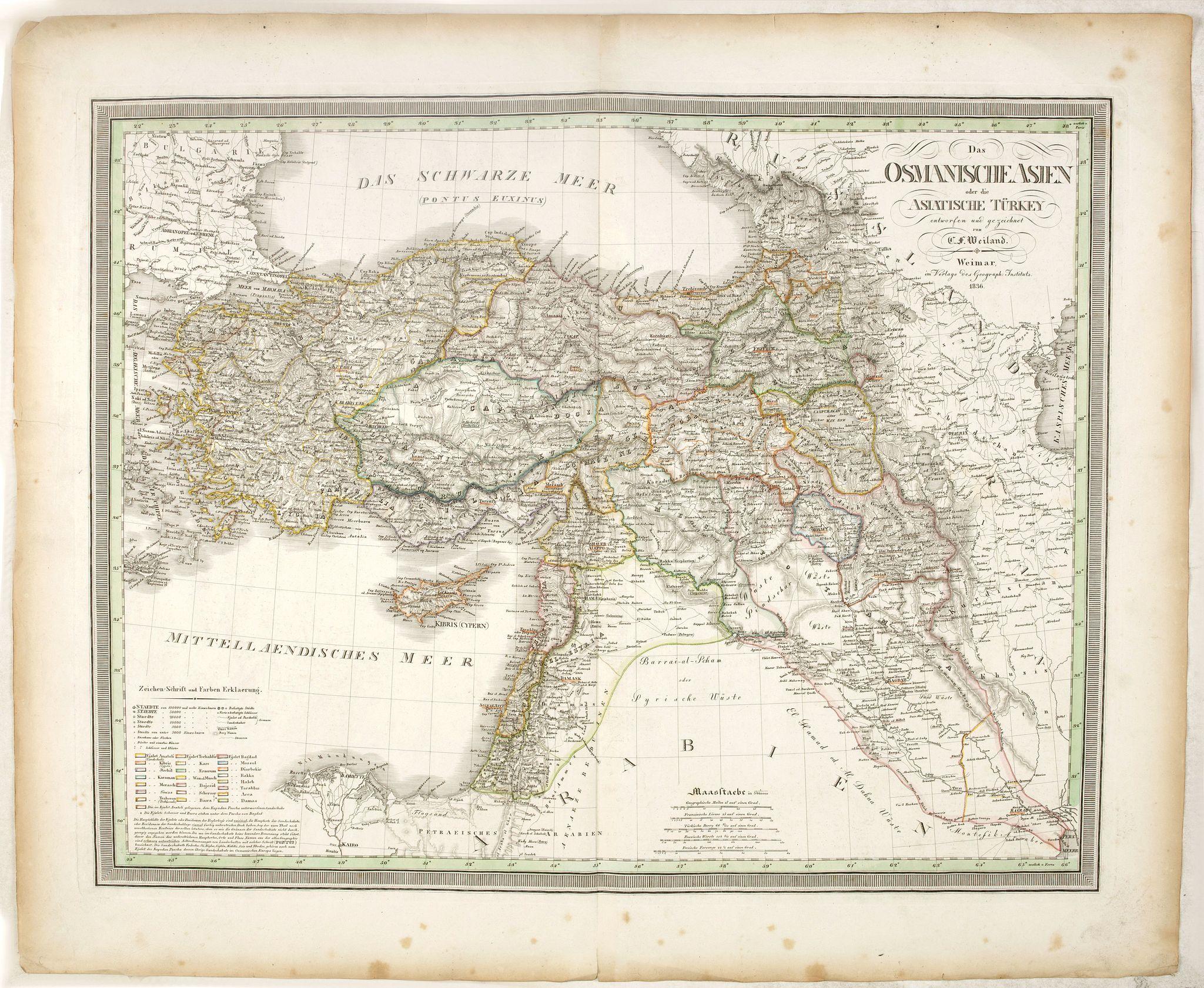 WEIMAR GEOGRAPHSCHER INSTITUT -  Das Osmanische asien oder die Asiatische Türkey. . .