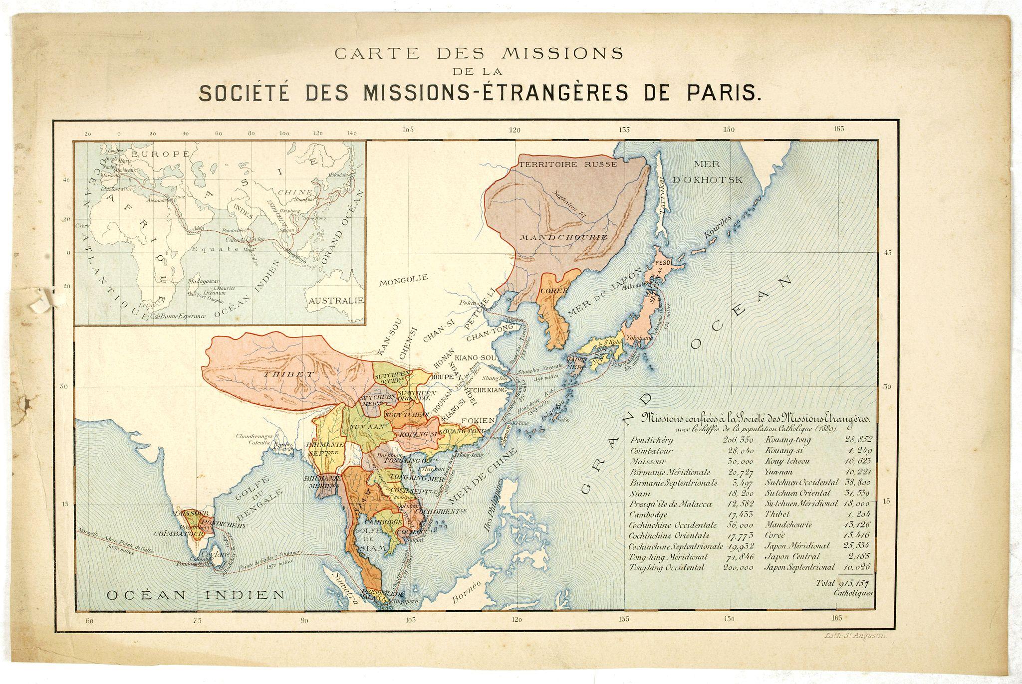MISSIONS CATHOLIQUES -  Carte des missions de la société des missions-étrangeres de Paris.