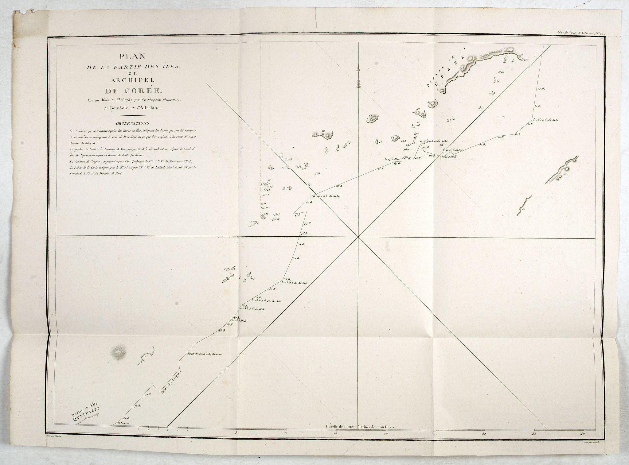 LA PEROUSE, J.F.G. -  Plan de la partie des iles, ou archipel de Coree, vue au mois de Mai 1787 par les Fregates Francaises la Boussole et l'Astrolabe. . . .