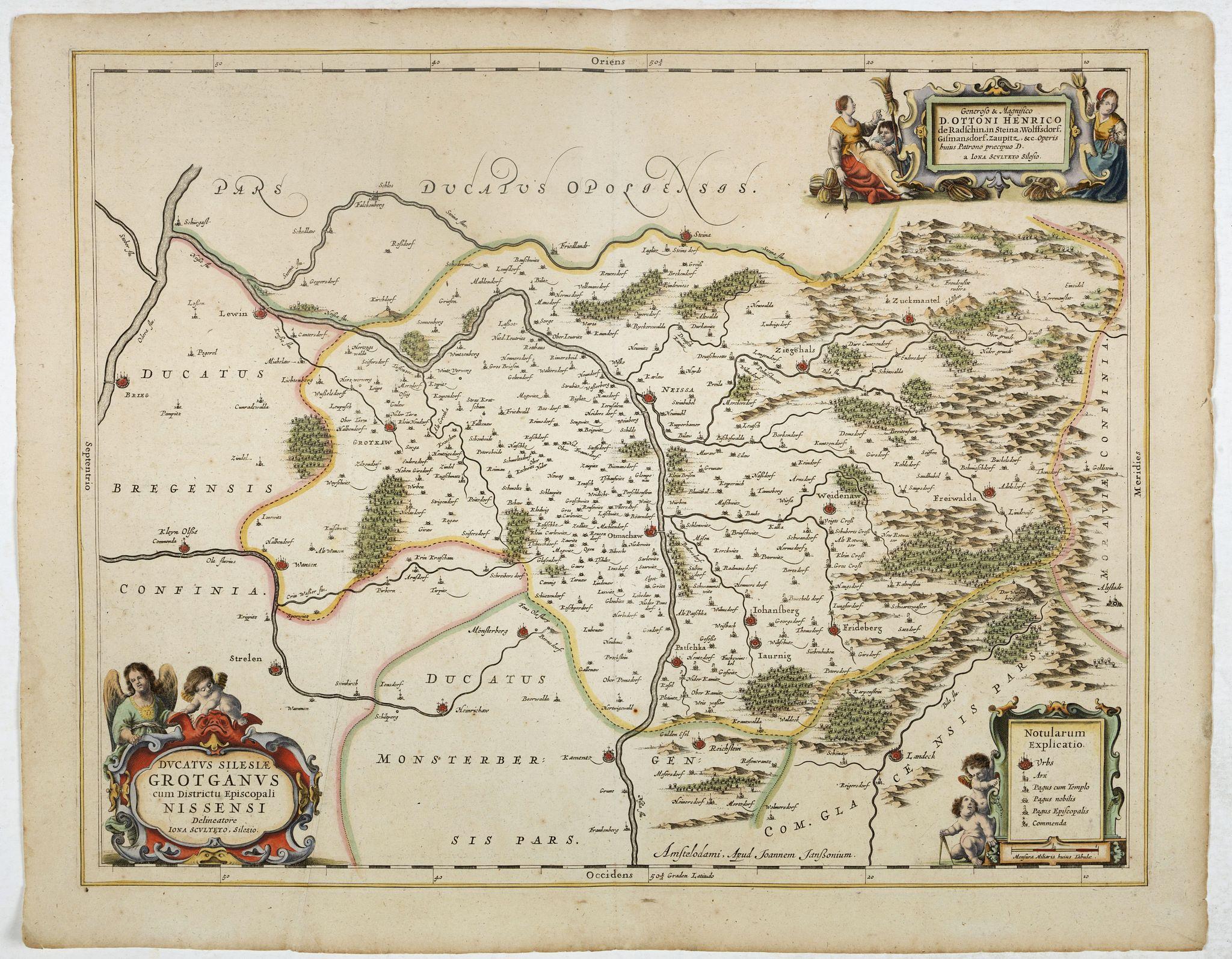 JANSSONIUS, J. -  Ducatus Silesiae Grotganus cum Districtu Episcopali Nissensi Delineatore Iona Sculteto, Silesio.