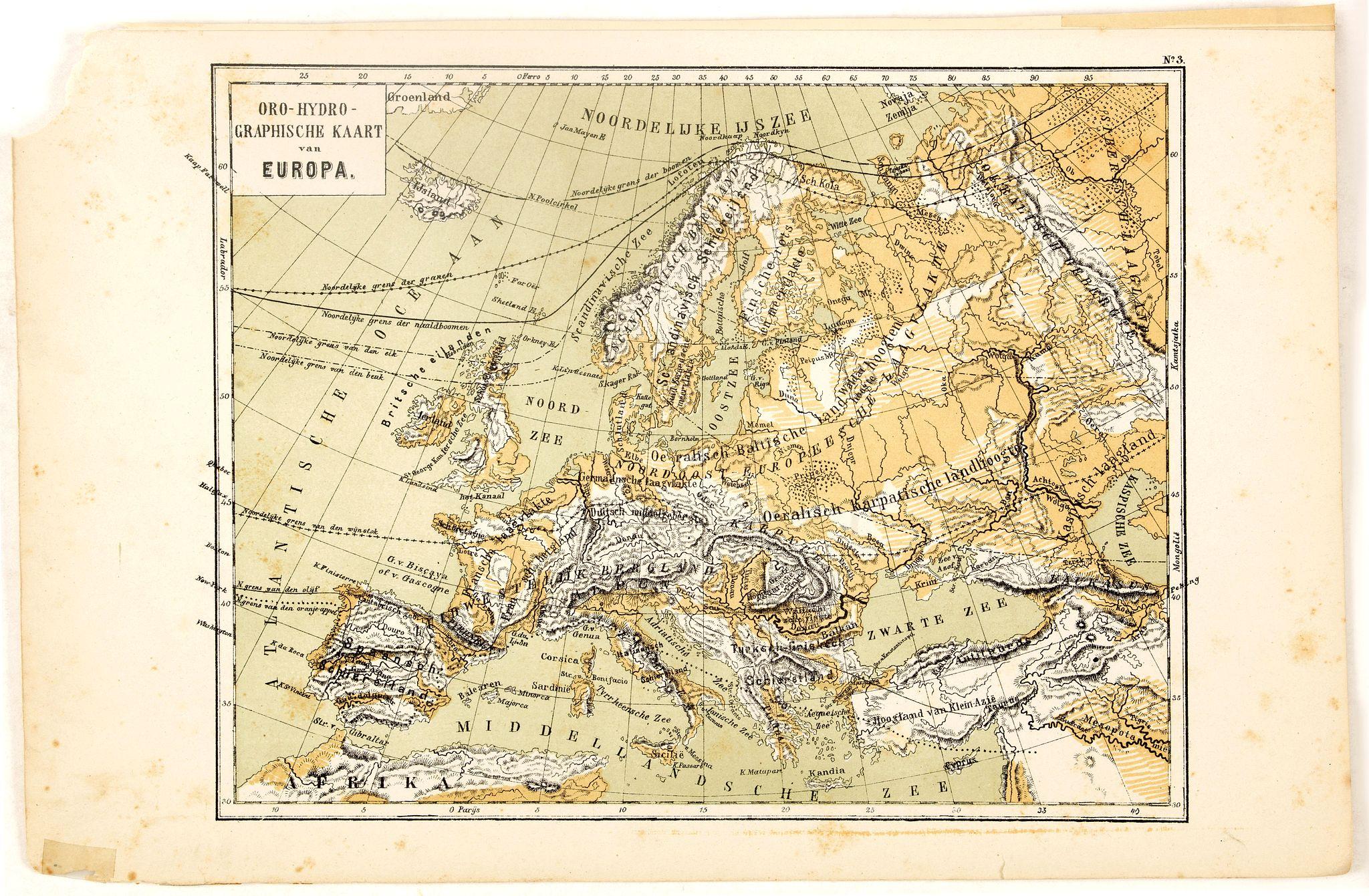 POSTHUMUS, N.W. -  Oro-Hydrographische Kaart van Europa.