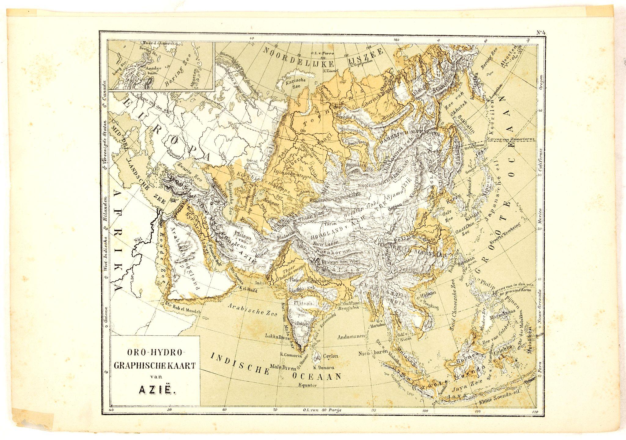 POSTHUMUS, N.W. -  Oro-Hydrographische Kaart van Azië.