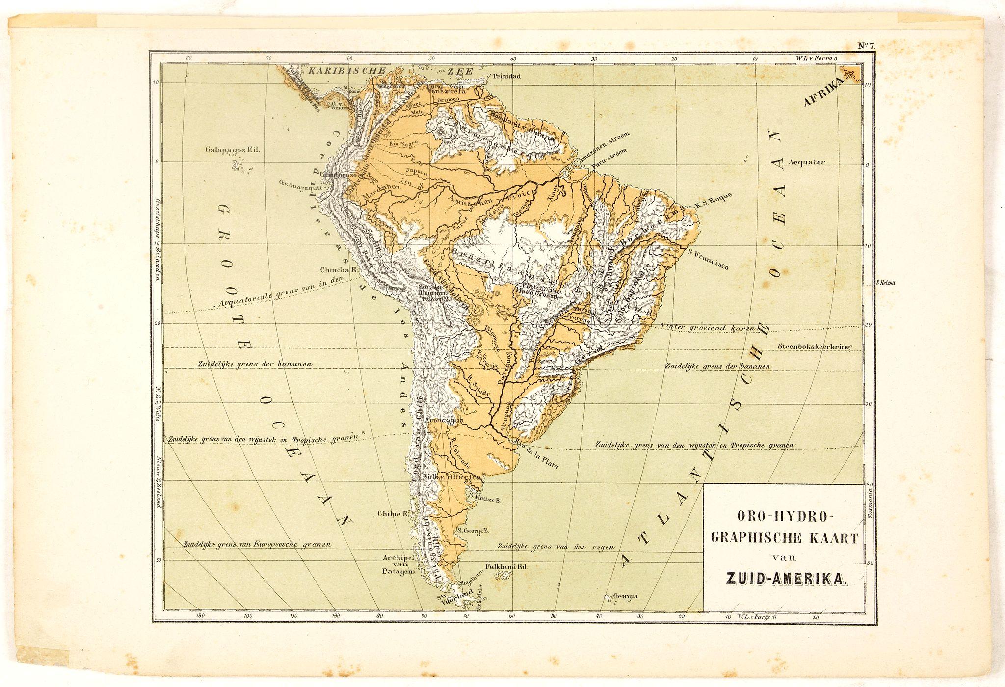 POSTHUMUS, N.W. -  Oro-Hydrographische Kaart van Zuid-Amerika.