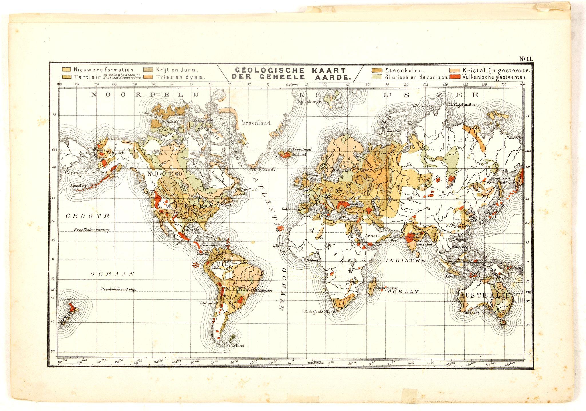 POSTHUMUS, N.W. -  Geologische Kaart der Geheele Aarde.