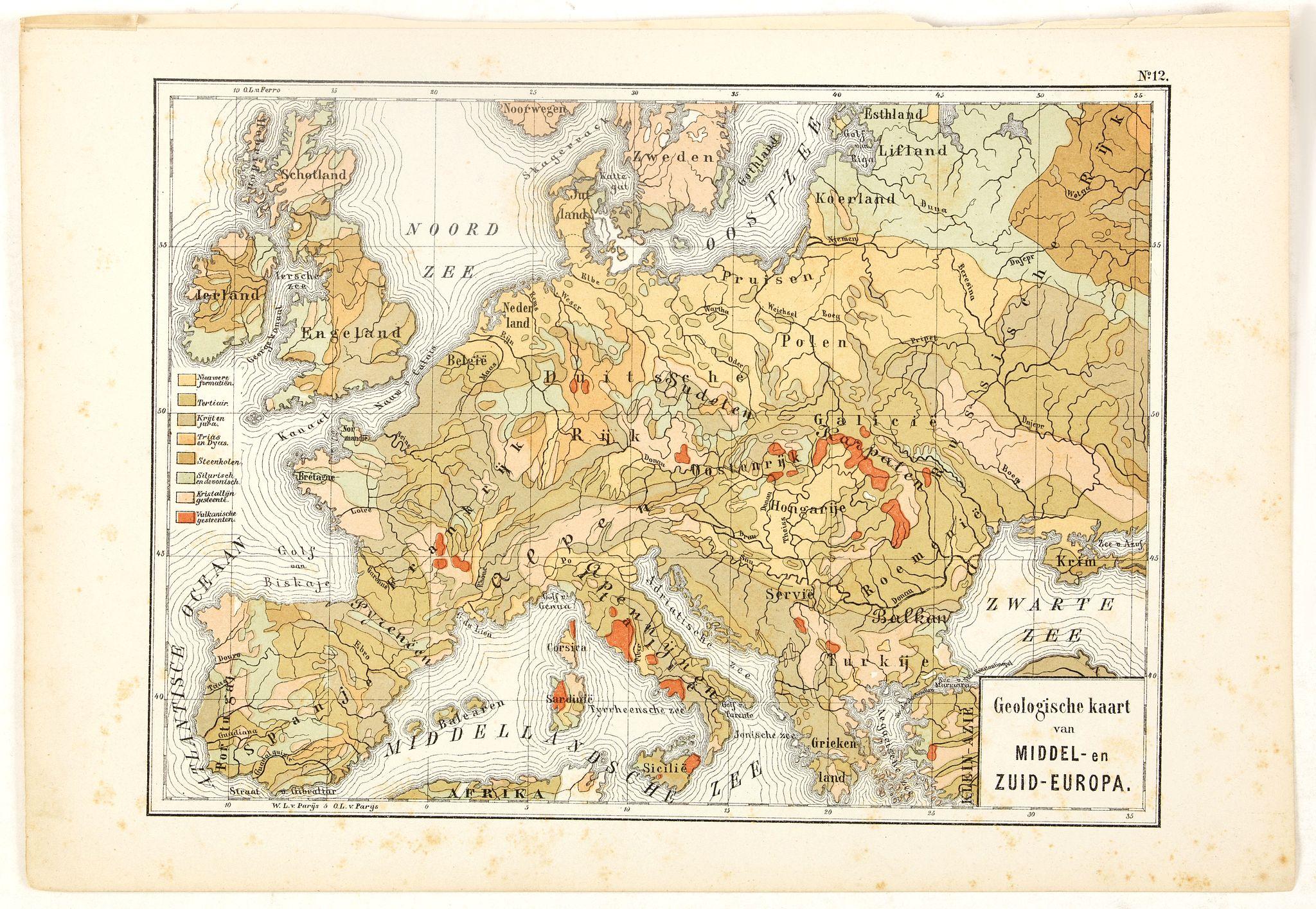 POSTHUMUS, N.W. -  Geologische Kaart van Middel- en Zuid-Europa.