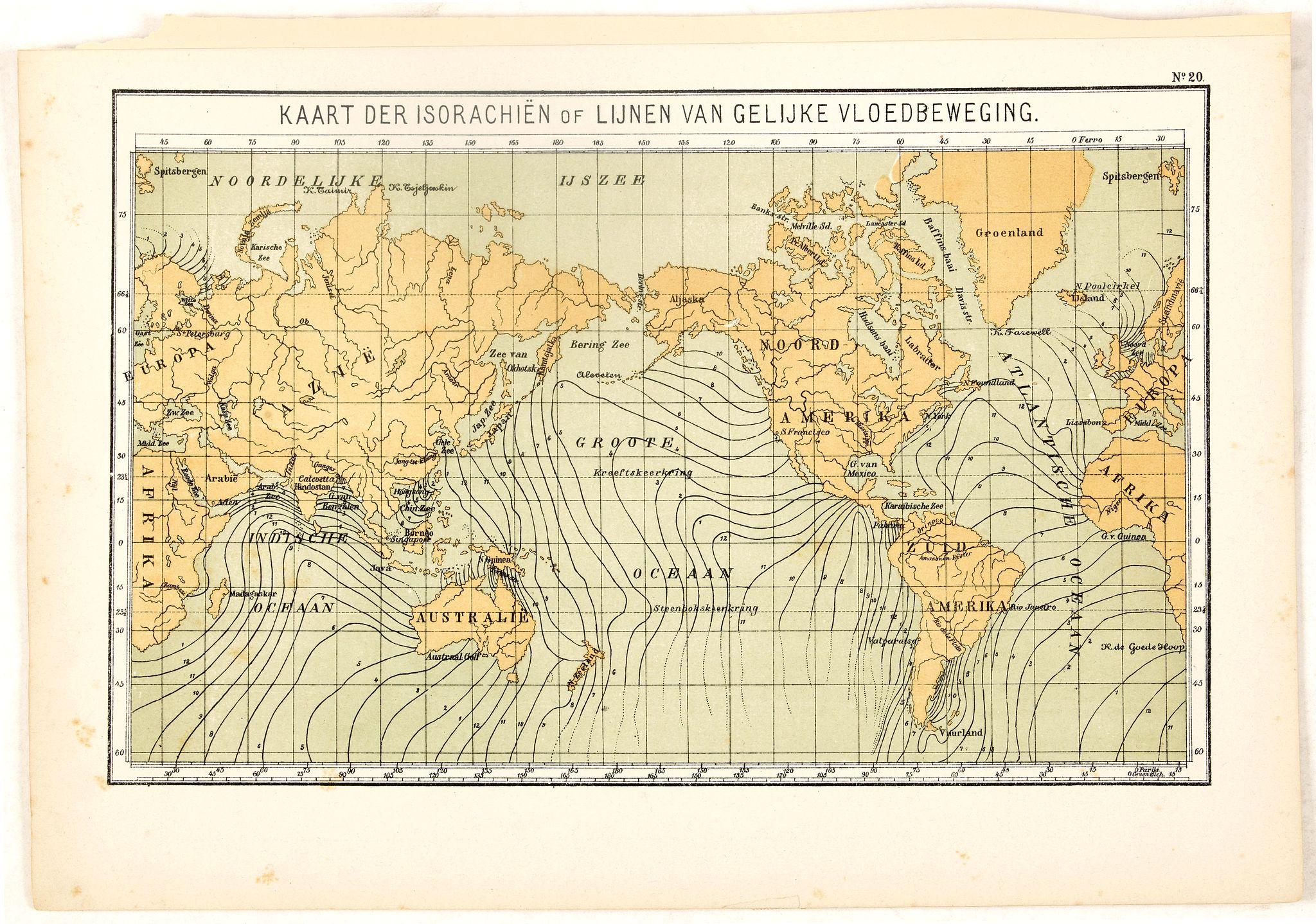 POSTHUMUS, N.W. -  Kaart der Isorachiën of Lijnen van Gelijke Vloedbeweging.