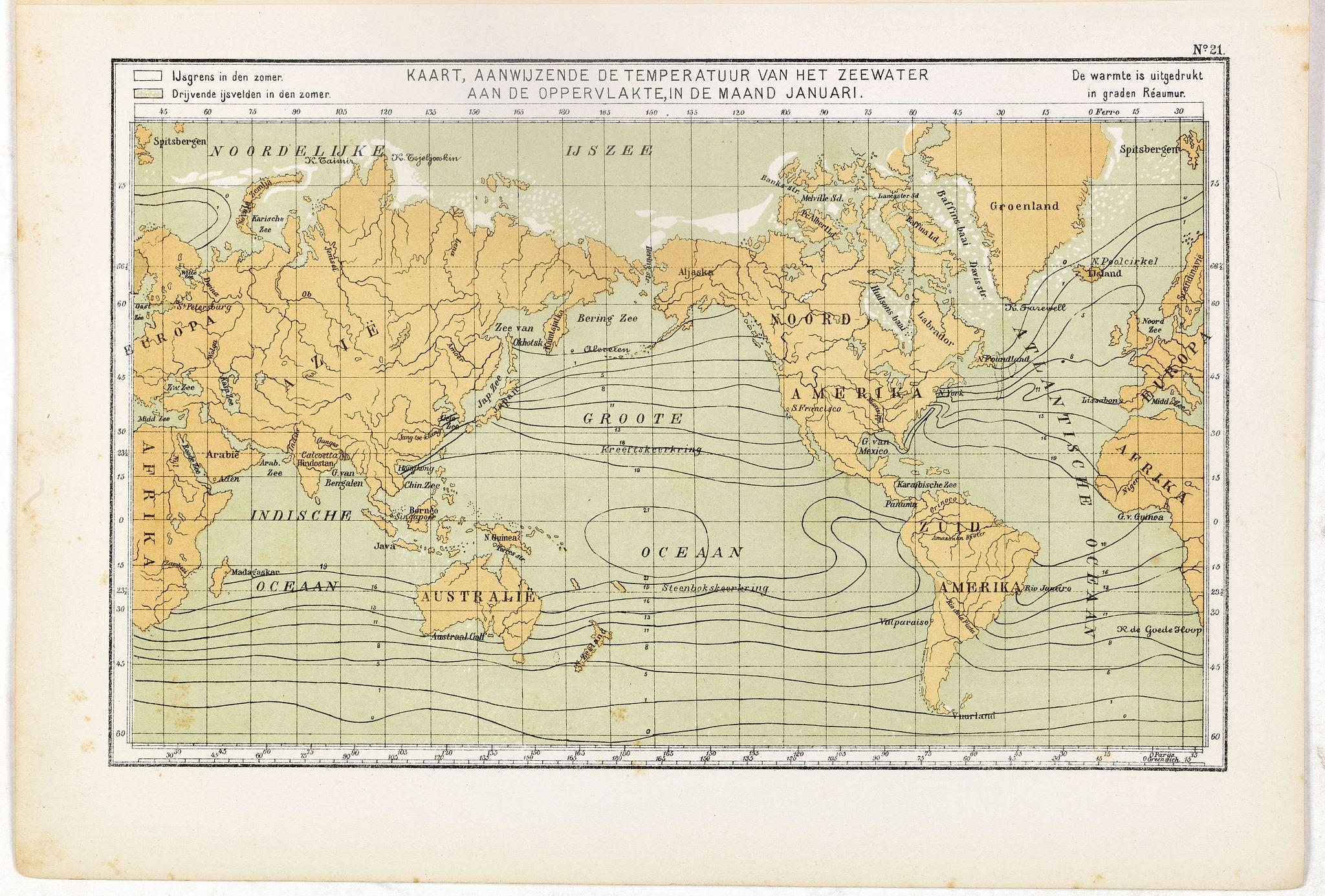 POSTHUMUS, N.W. -  Kaart, Aanwujzende de temperatuur van het zeewater aan de oppervlakte, in de maand Januari.