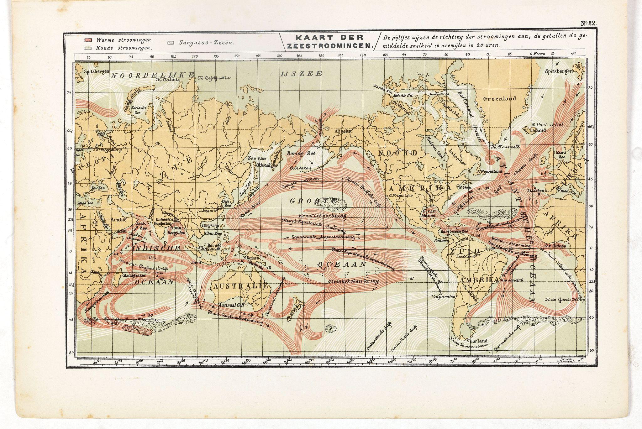 POSTHUMUS, N.W. -  Kaart der Zeestroomingen.