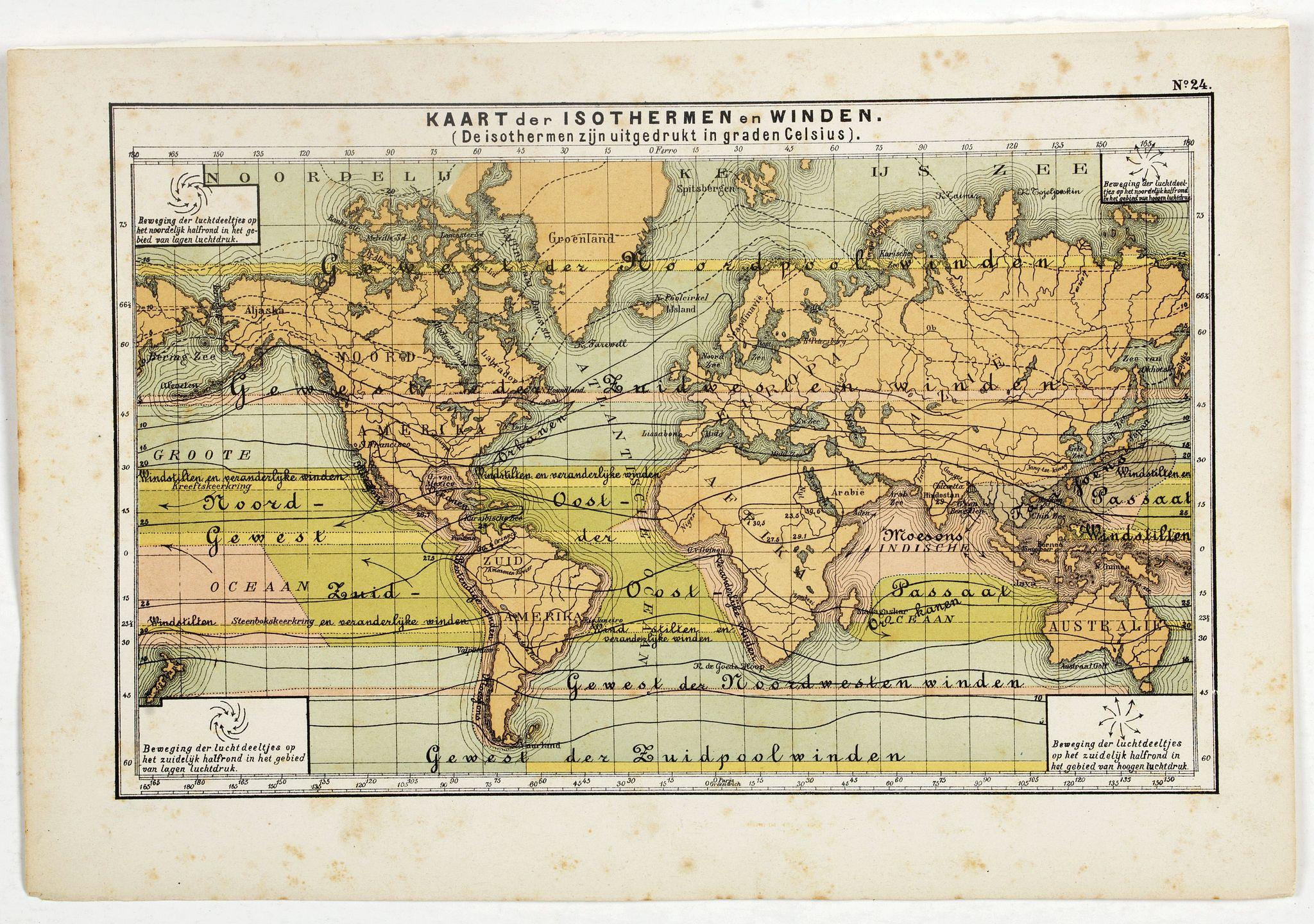 POSTHUMUS, N.W. -  Kaart der Oceanische Stroomgebieden.