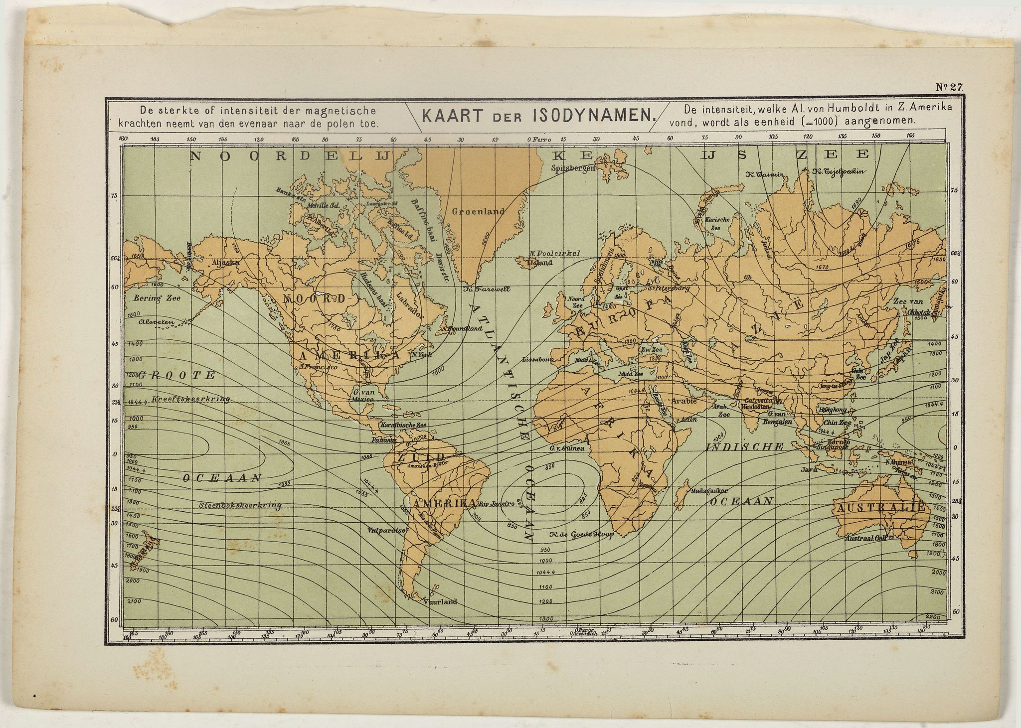 POSTHUMUS, N.W. -  Kaart der Isodynamen.