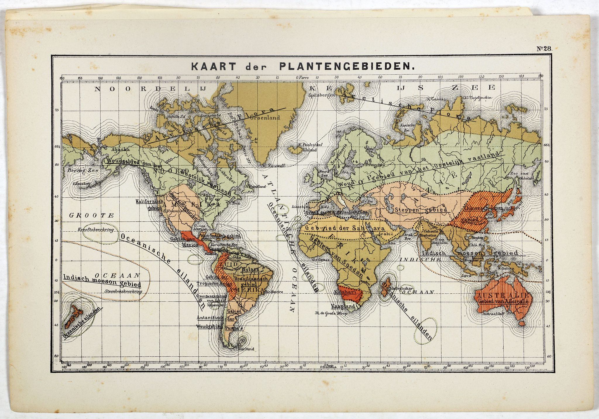 POSTHUMUS, N.W. -  Kaart der Plantengebieden.