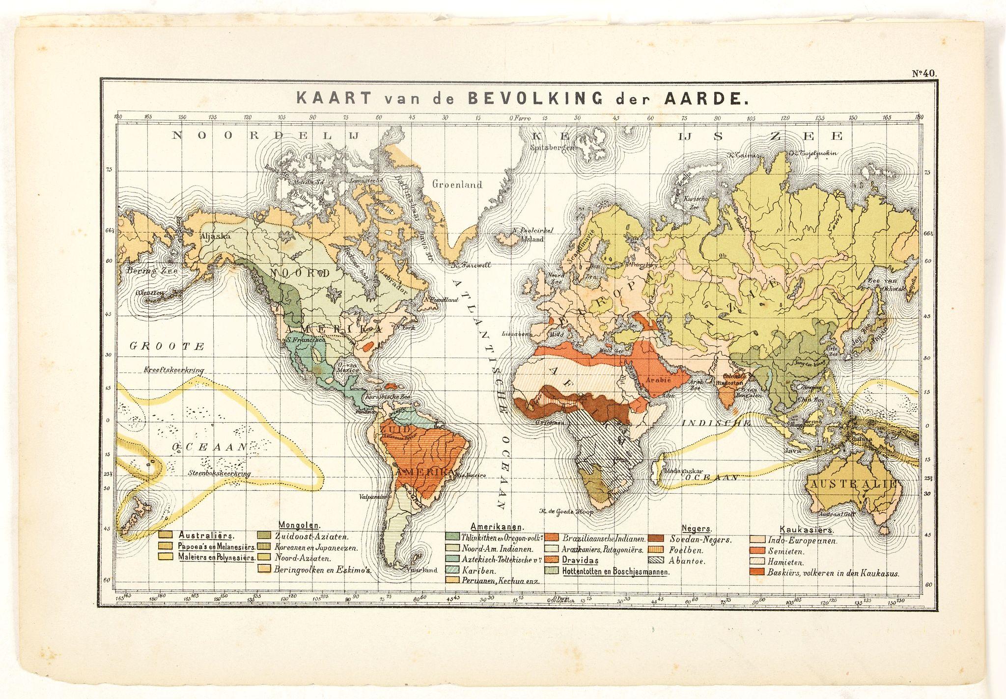 POSTHUMUS, N.W. -  Kaart van de Bavolking der Aarde.