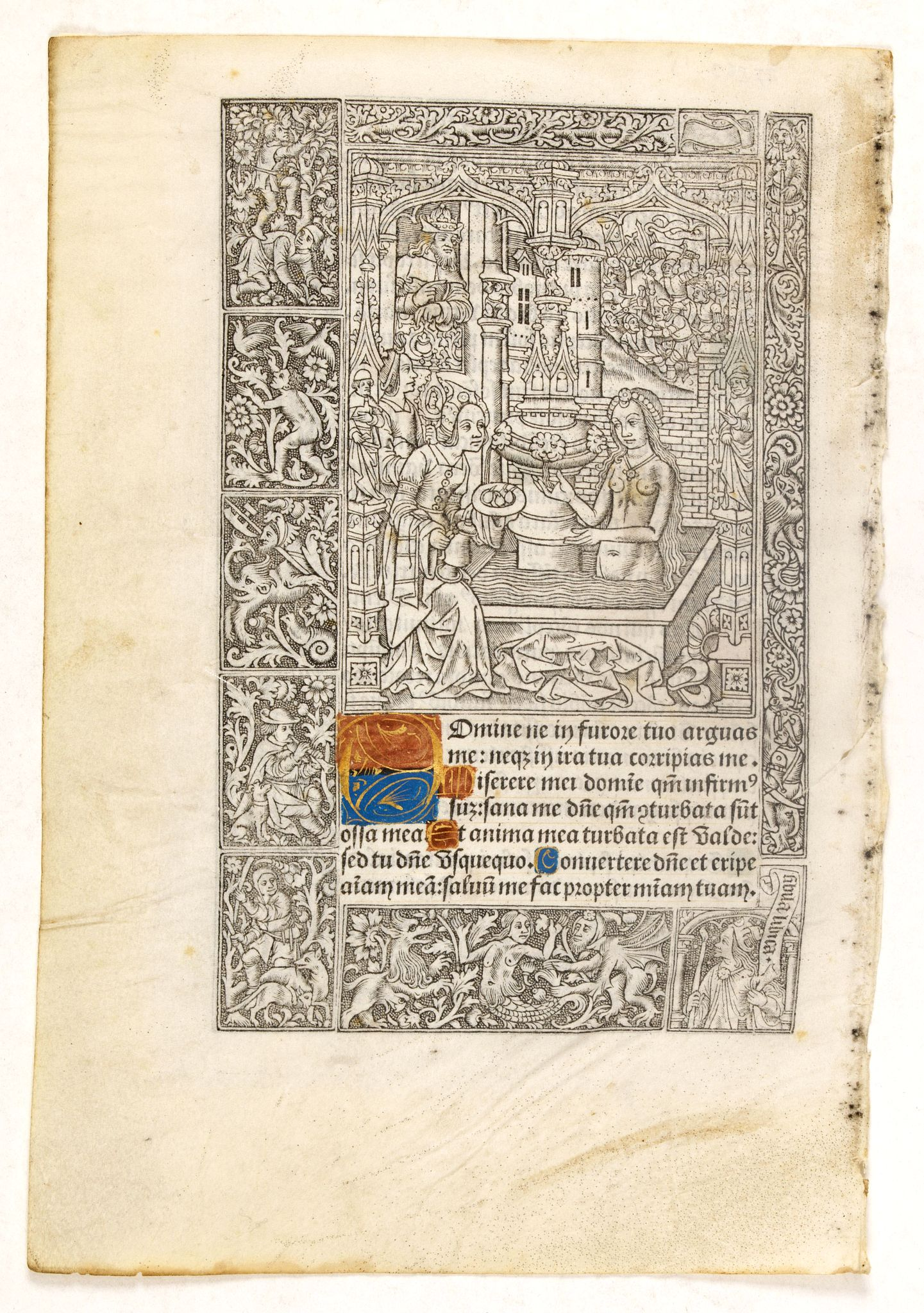 VOSTRE, S. / PIGOUCHET -  Leaf on vellum from a printed Book of Hours.