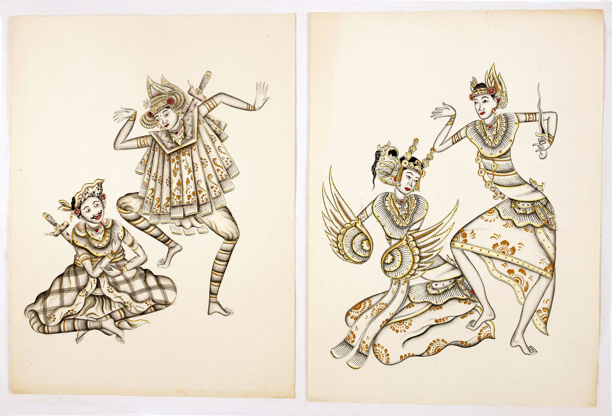 ANONYMOUS -  Legong dancers : Two Balinees pen and ink drawings on paper.
