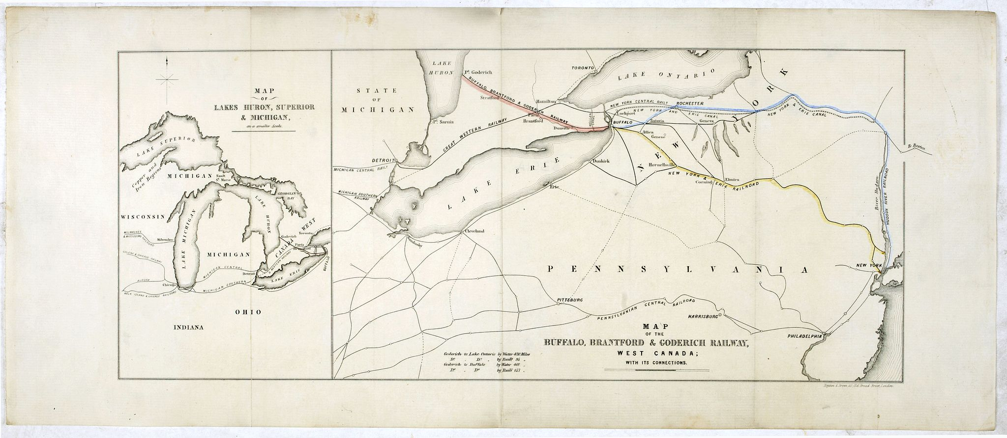 ROYSTON & BROWN -  Map of lakes Huron, superior & Michigan, on a smaller scale. / Map of the Buffalo, Brantford & Goderich railway west Canada with its connections
