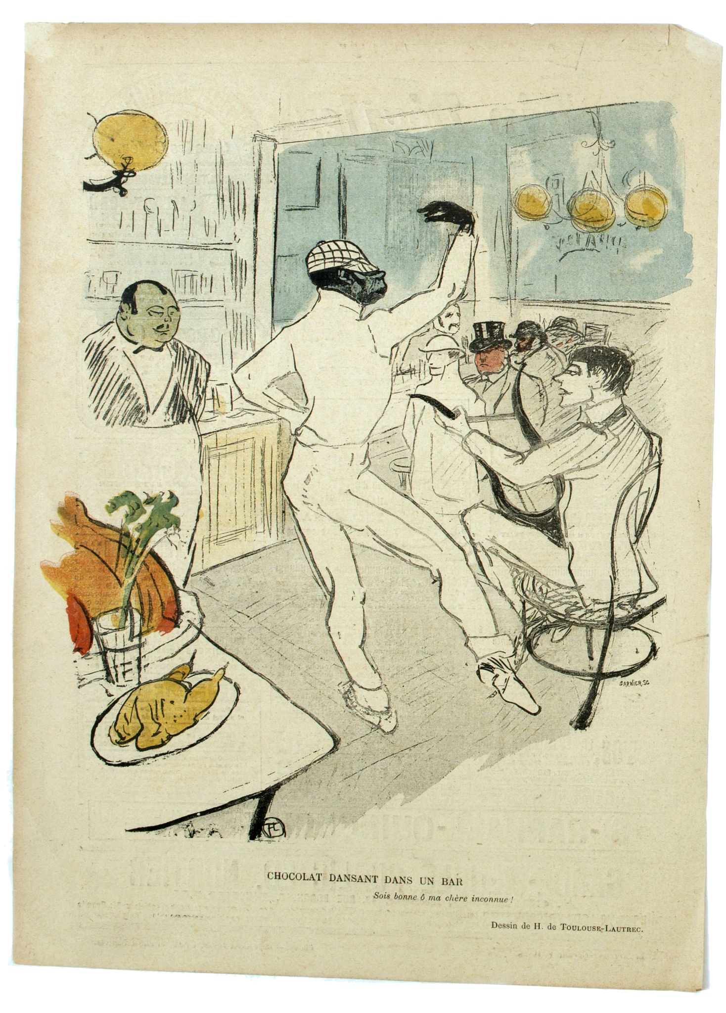 TOULOUSE-LAUTREC, H. de -  Chocolat dansant dans un bar.