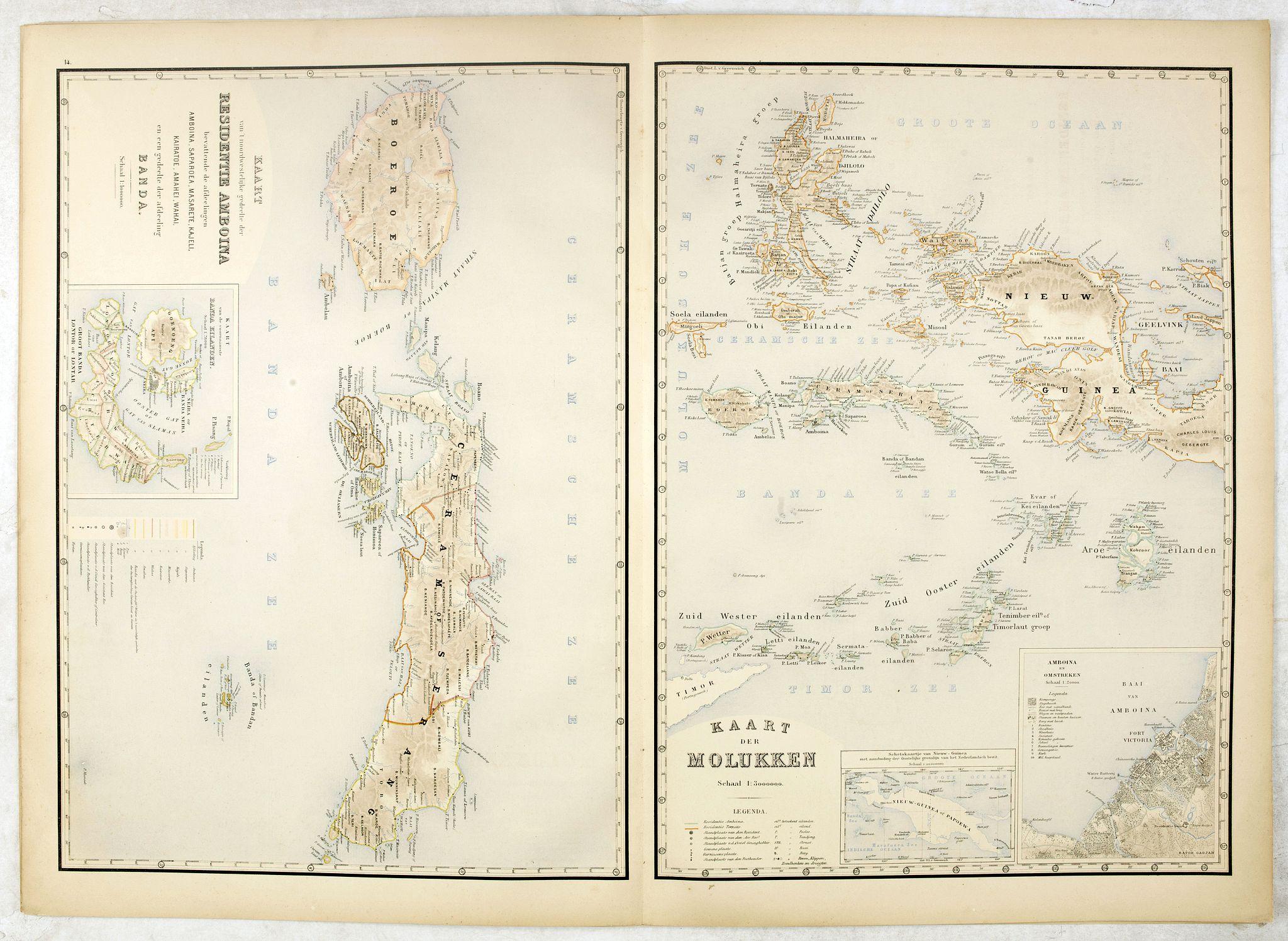 STEMFOORT, J.W. / SIETHOFF, J.J. -  Kaart van't noordwestelijke gedeelte der Residentie Amboina . . . / Kaart der Molukken.