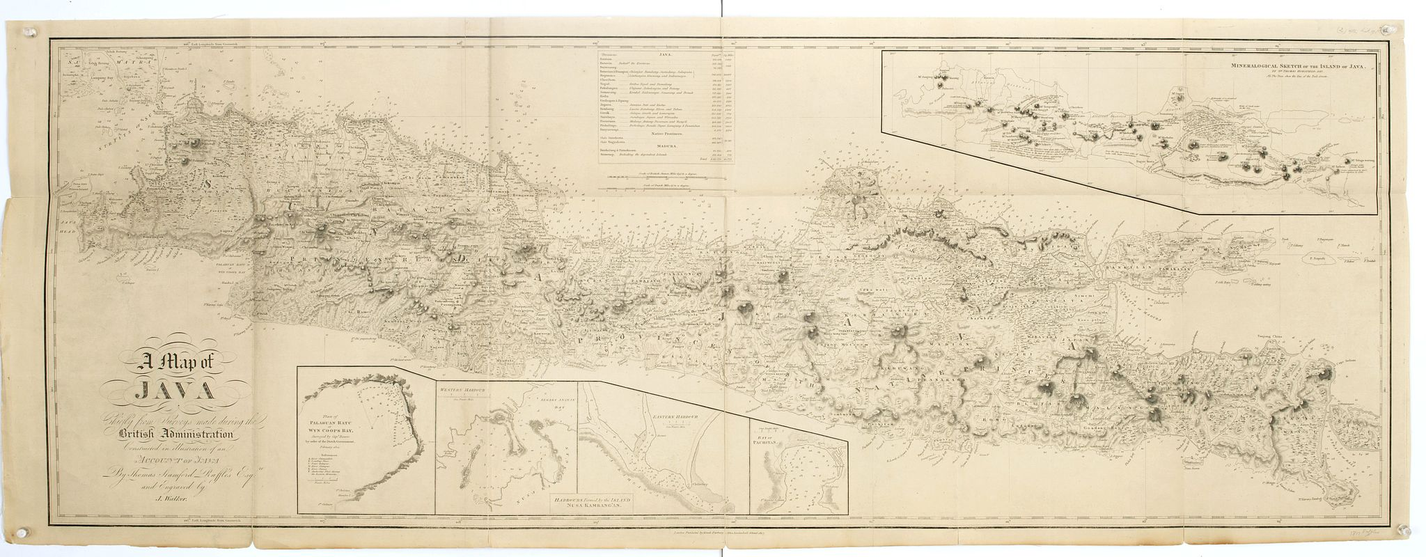 RAFFLES, T.S. -  A map of Java chiefly from surveys made during the British administration, constructed in illustration of an Account of Java by T S Raffles . . ,