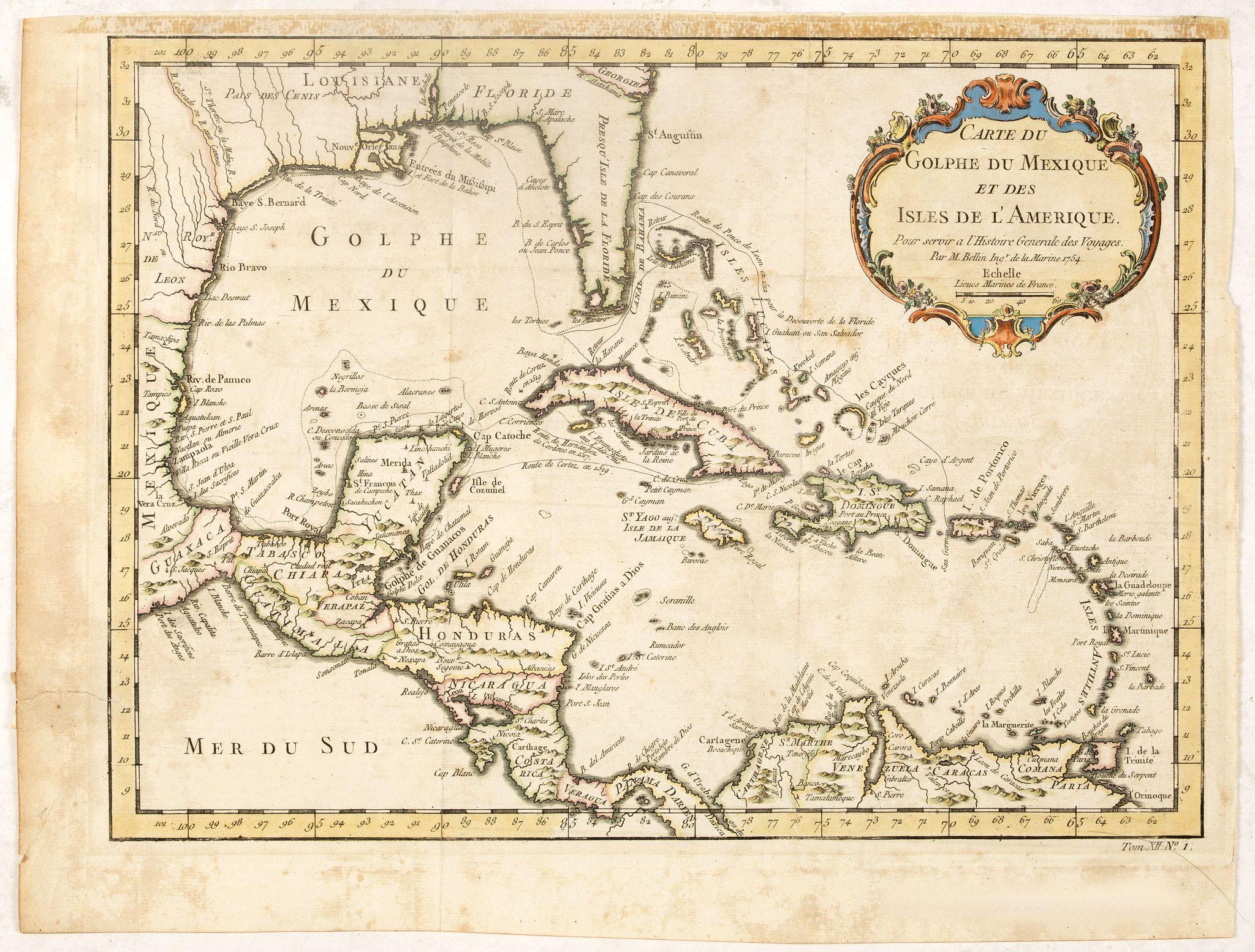 BELLIN, J.N. -  Carte du Golphe du Mexique et des Isles de l'Amerique.