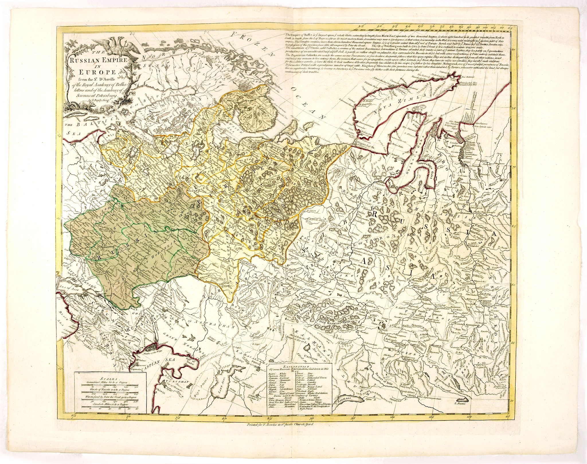 BOWLES, T. -  Russian Empire in Europe from the Dr. D'Anville of the Royal Academy. . .