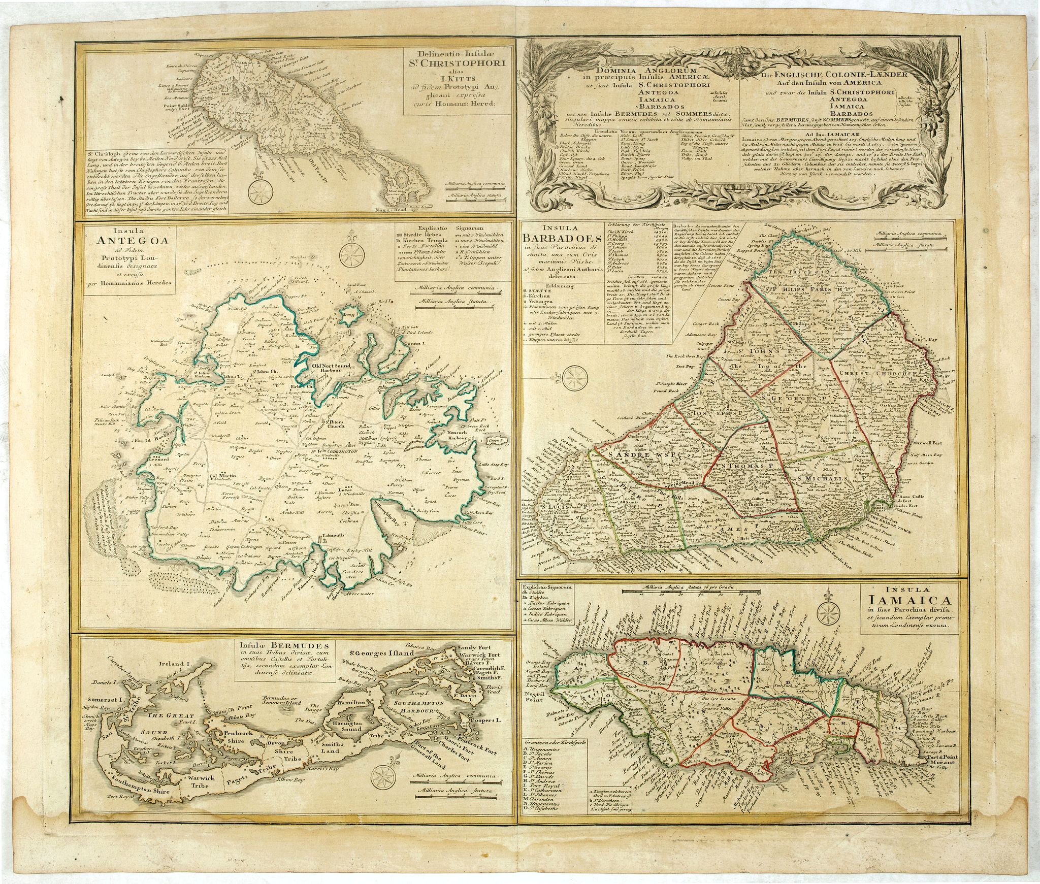 HOMANN HEIRS.,  [Five maps on one sheet] Dominia Anglorum in praecipuis Insulis Americae ut sunt Insula S. Christopheri, Antegoa, Iamaica, Barbados nec non Insula Bermudes vel Sommers . . ., antique map, old maps
