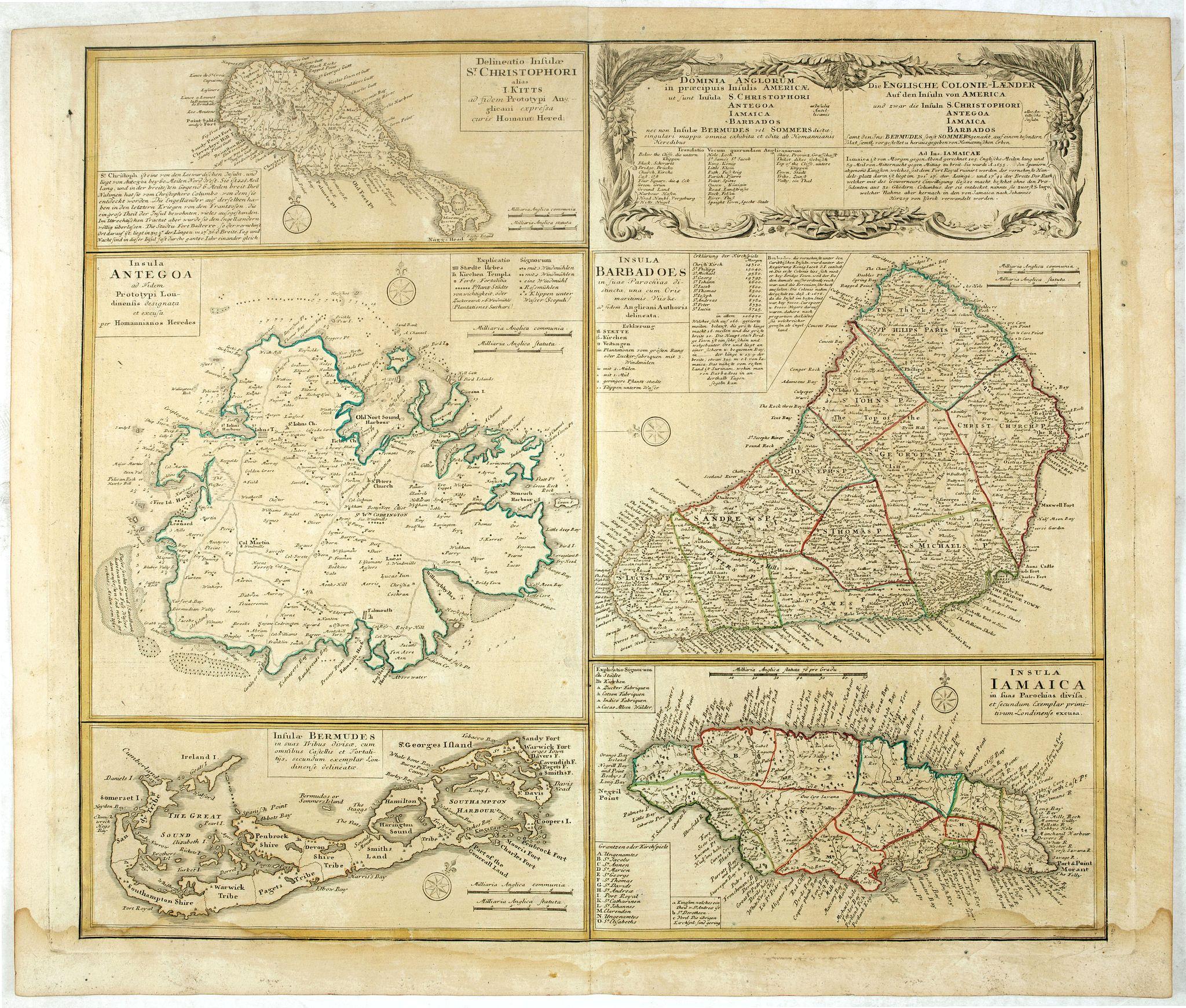 HOMANN HEIRS. -  [Five maps on one sheet] Dominia Anglorum in praecipuis Insulis Americae ut sunt Insula S. Christopheri, Antegoa, Iamaica, Barbados nec non Insula Bermudes vel Sommers . . .