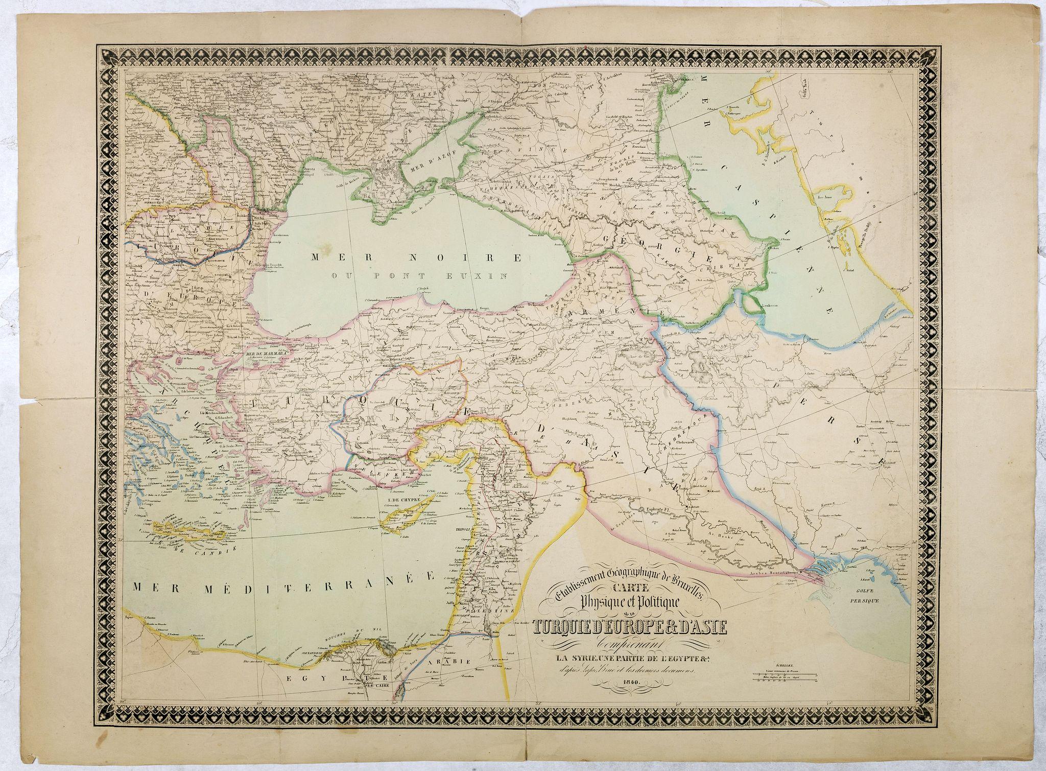 Etablissement Géographique de Bruxelles -  Carte physique et politique de la Turquie d'Europe et d'Asie contenant la Syrie, une partie de l'Egypte . . .