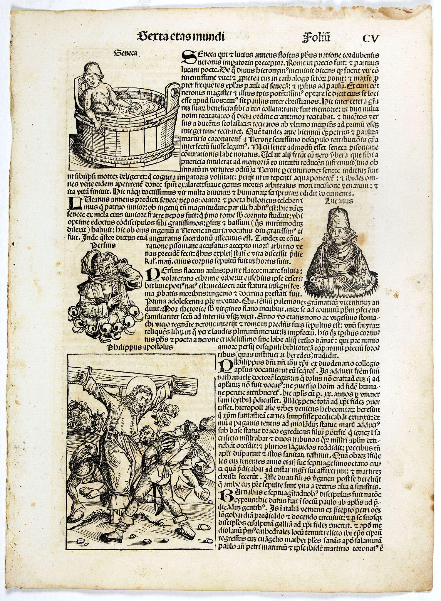 SCHEDEL, H. -  Sexta Etas Mundi. Folio CV.