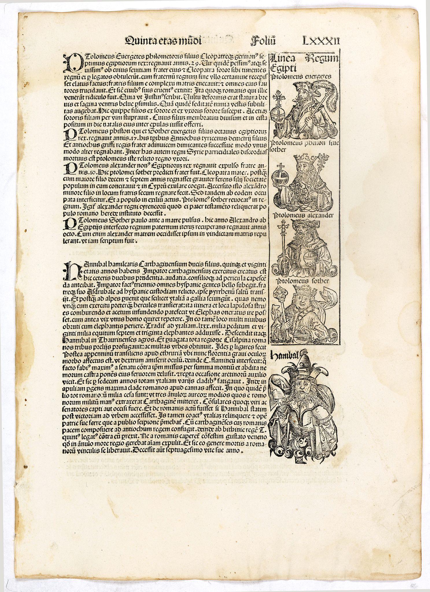 SCHEDEL, H. -  Quinta Etas Mundi. Folium. LXXXII