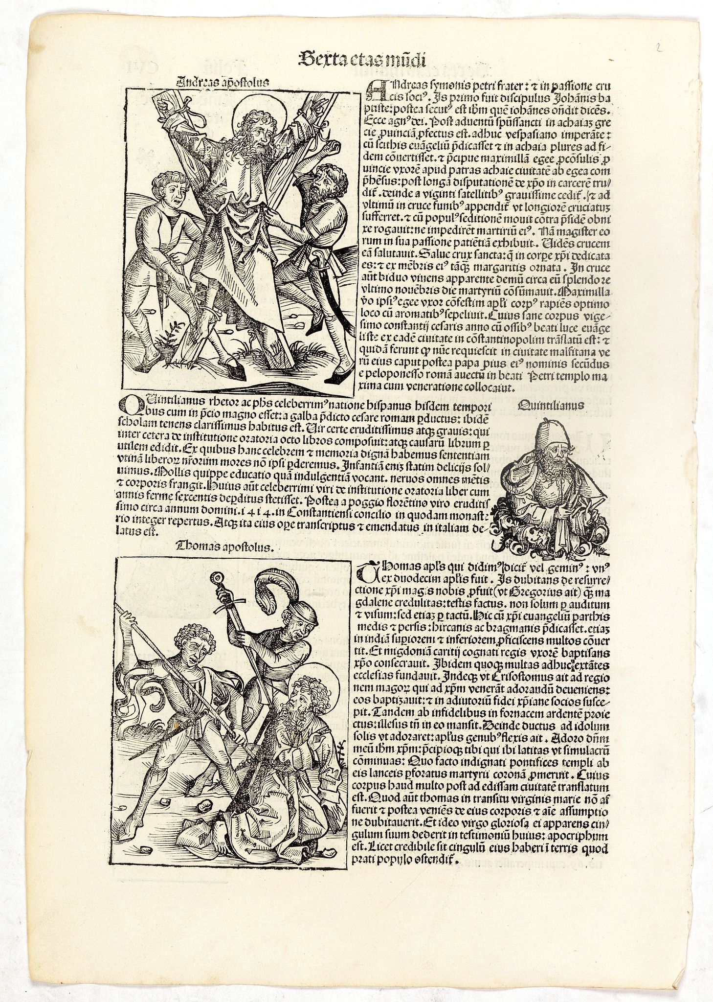 SCHEDEL, H. -  Apostles Andrews and Thomas. Folio CVI.