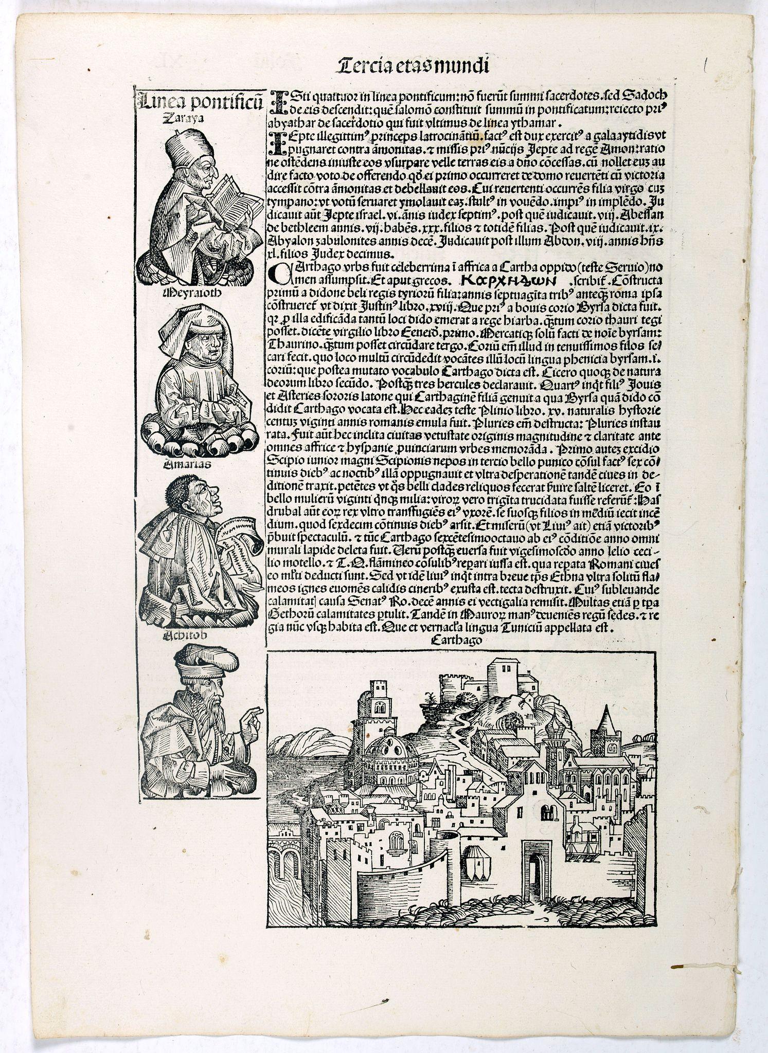 SCHEDEL, H. -  Tercia Etas Mundi. / Carthago (Carthage in Tunisia). / Folio XL.