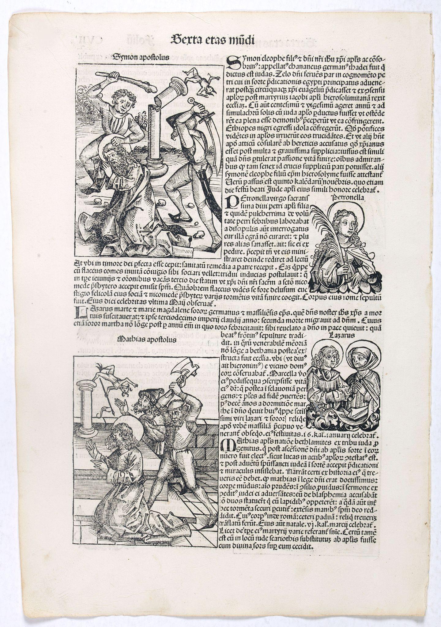 SCHEDEL, H. -  Sexta Etas Mundi. Folium. CVII