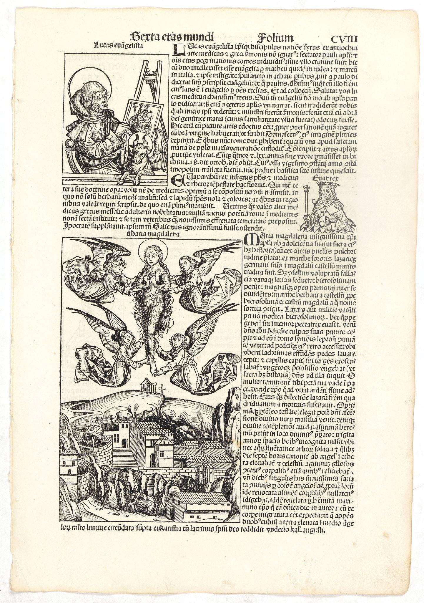 SCHEDEL, H. -  Sexta Etas Mudi. Lucas Evagelista. Folium CVIII.
