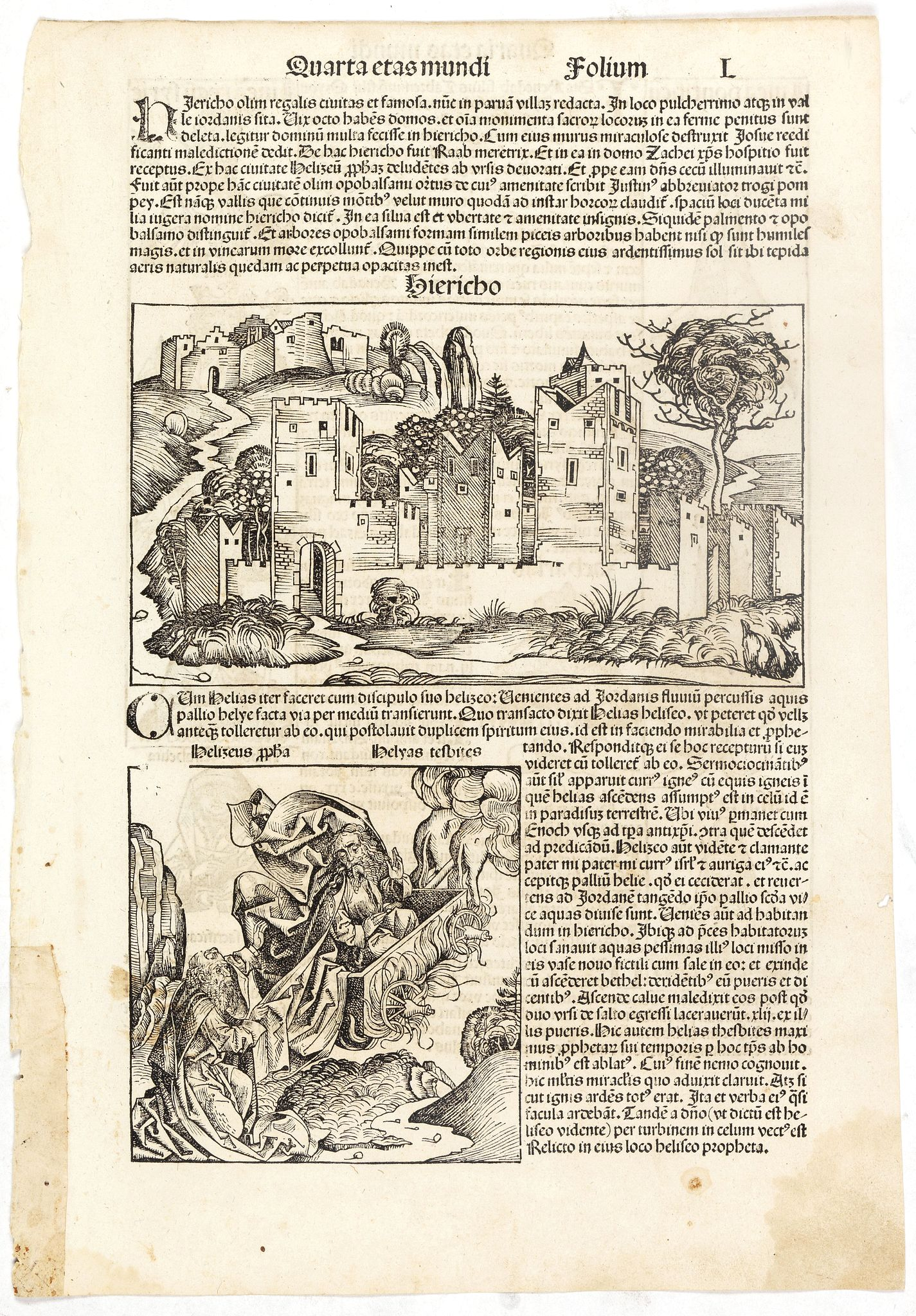 SCHEDEL, H. -  Quarta Etas Mundi. Folium. L (with view of Jericho)