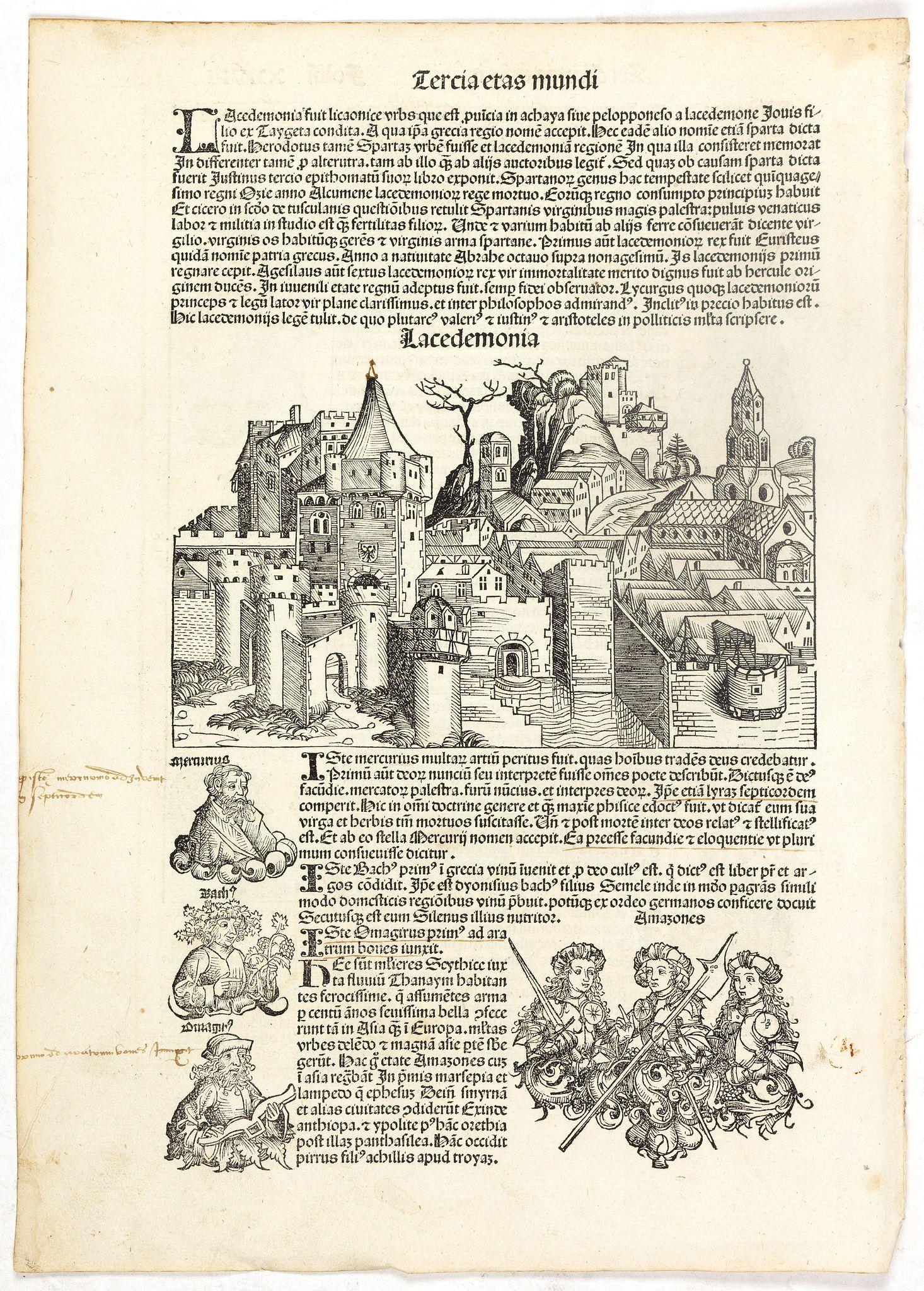 SCHEDEL, H. -  Tercia Etas Mundi. Foliu. XXVIII (with a view of the city of Lacedaemon or Sparta)