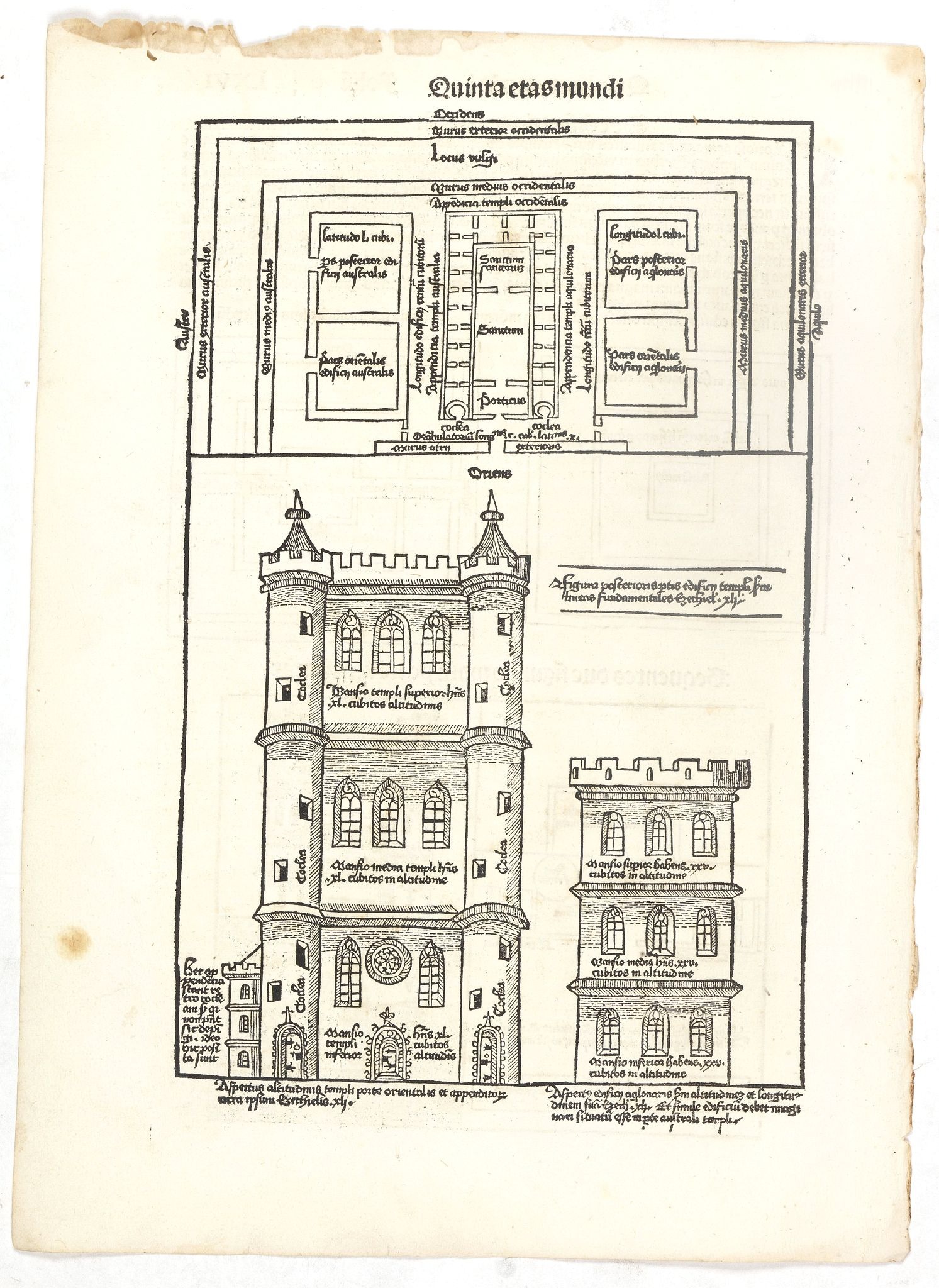 SCHEDEL, H. -  Quinta Etas Mundi. Folium. LXVI. (Visionary Temple of Ezekiel.)