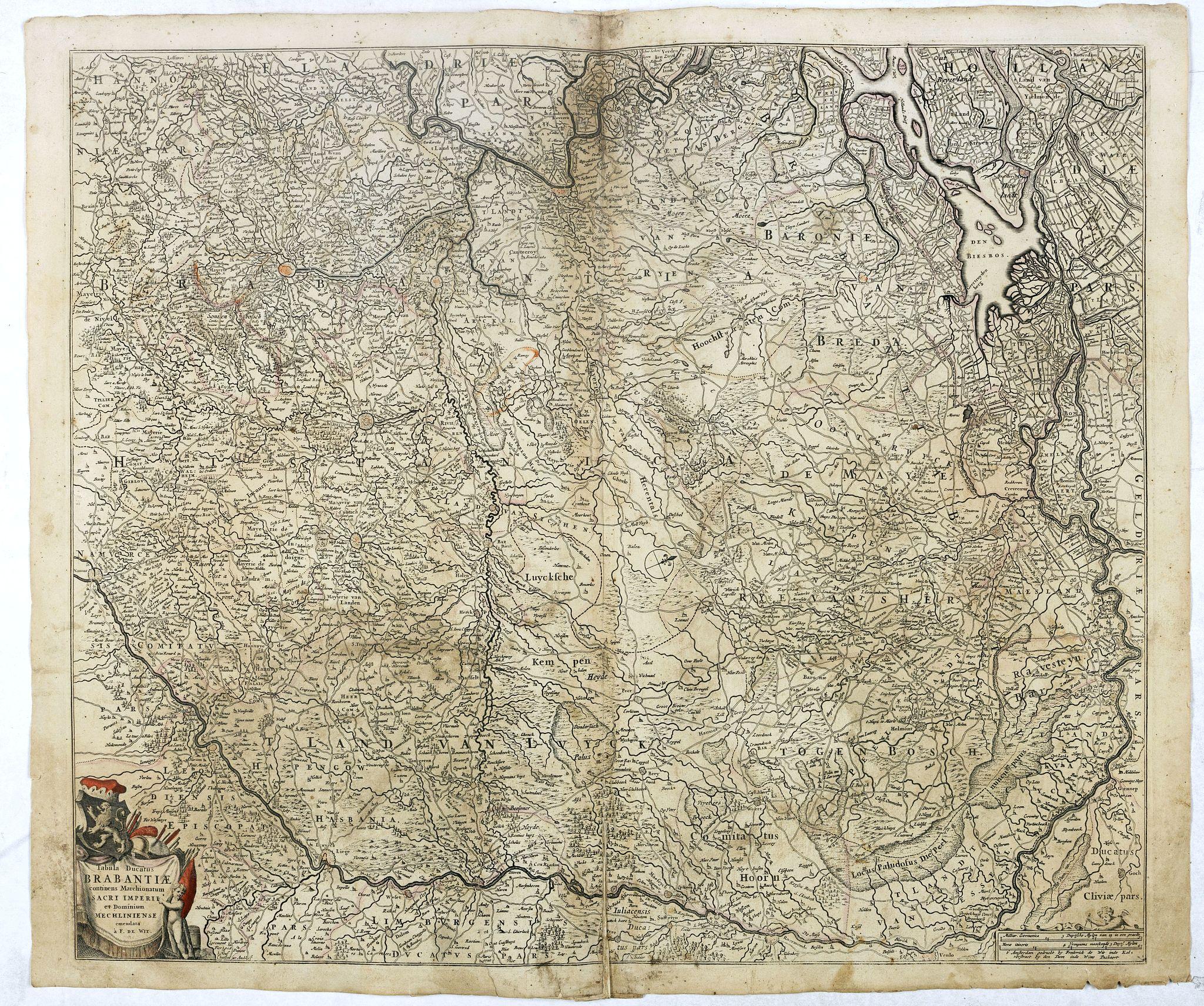 DE WIT, F -  Tabula Ducatus Brabantiae continens Marchionatum Sacri Imperii et Dominium Mechliniense emendate à F. de Wit 1666
