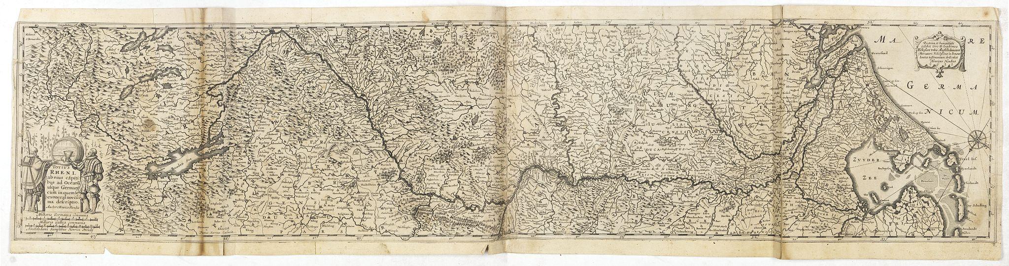 HONDIUS, H. -  Totius Rheni, ab eius Capitibus ad Oceanu usque Germanicum in quem se Exonerat Novissima Descriptio.