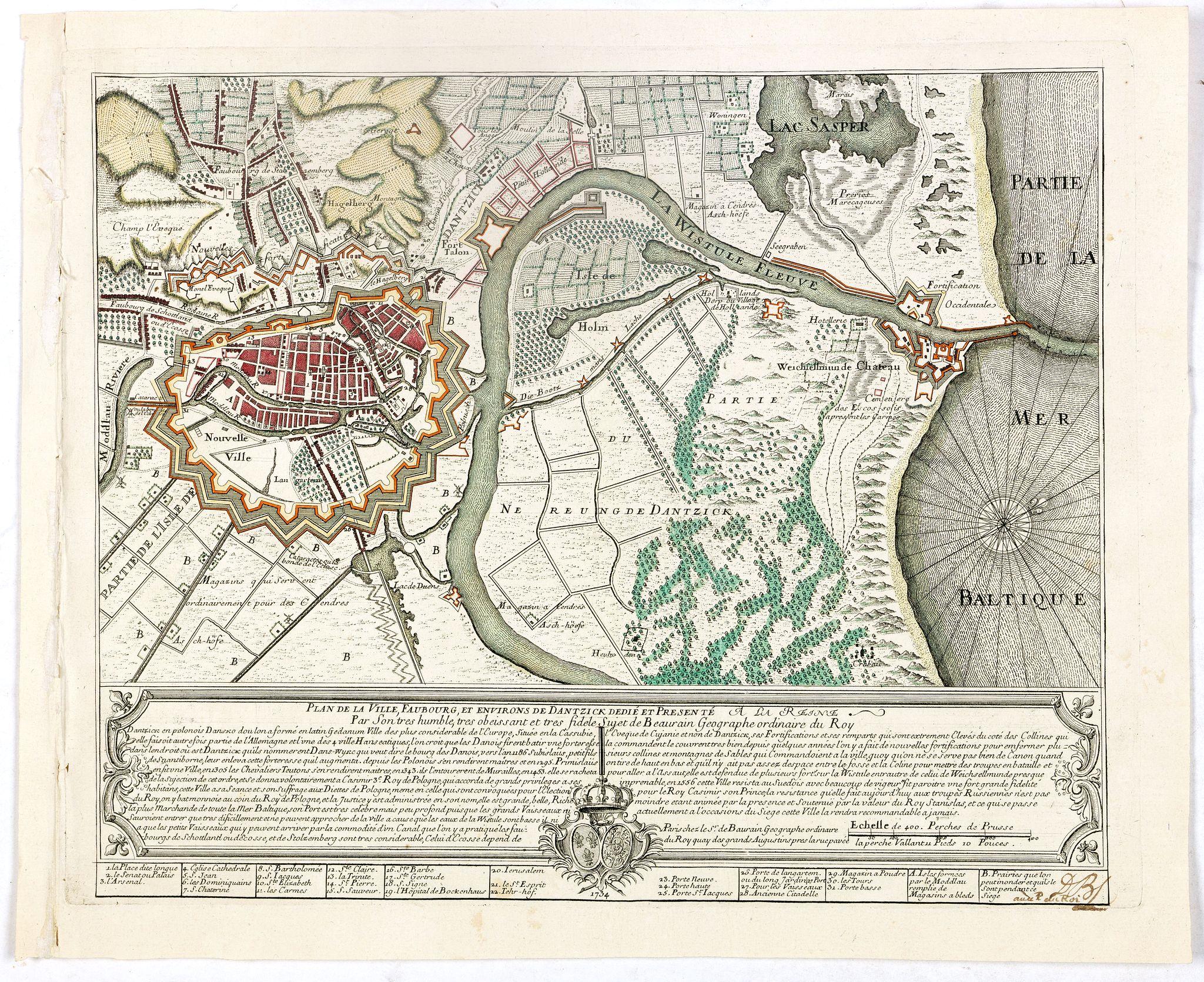 DE BAURAIN, J. -  Plan de la Ville, Faubourg et environs de Dantzick, dédié et présenté à la Reine. (Gdansk )