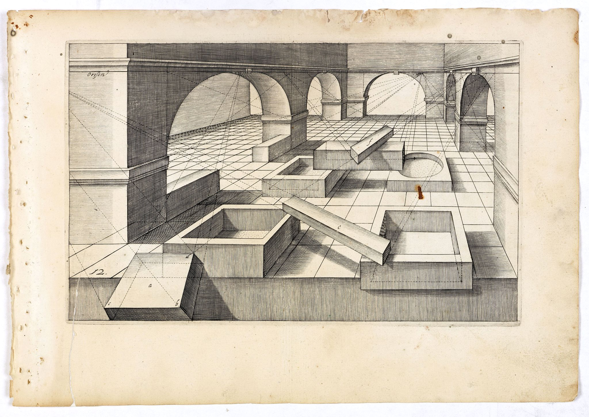 VREDEMAN DE VRIES, J. / HONDIUS, H. -  Perspective print by Vredeman de Vries. 12