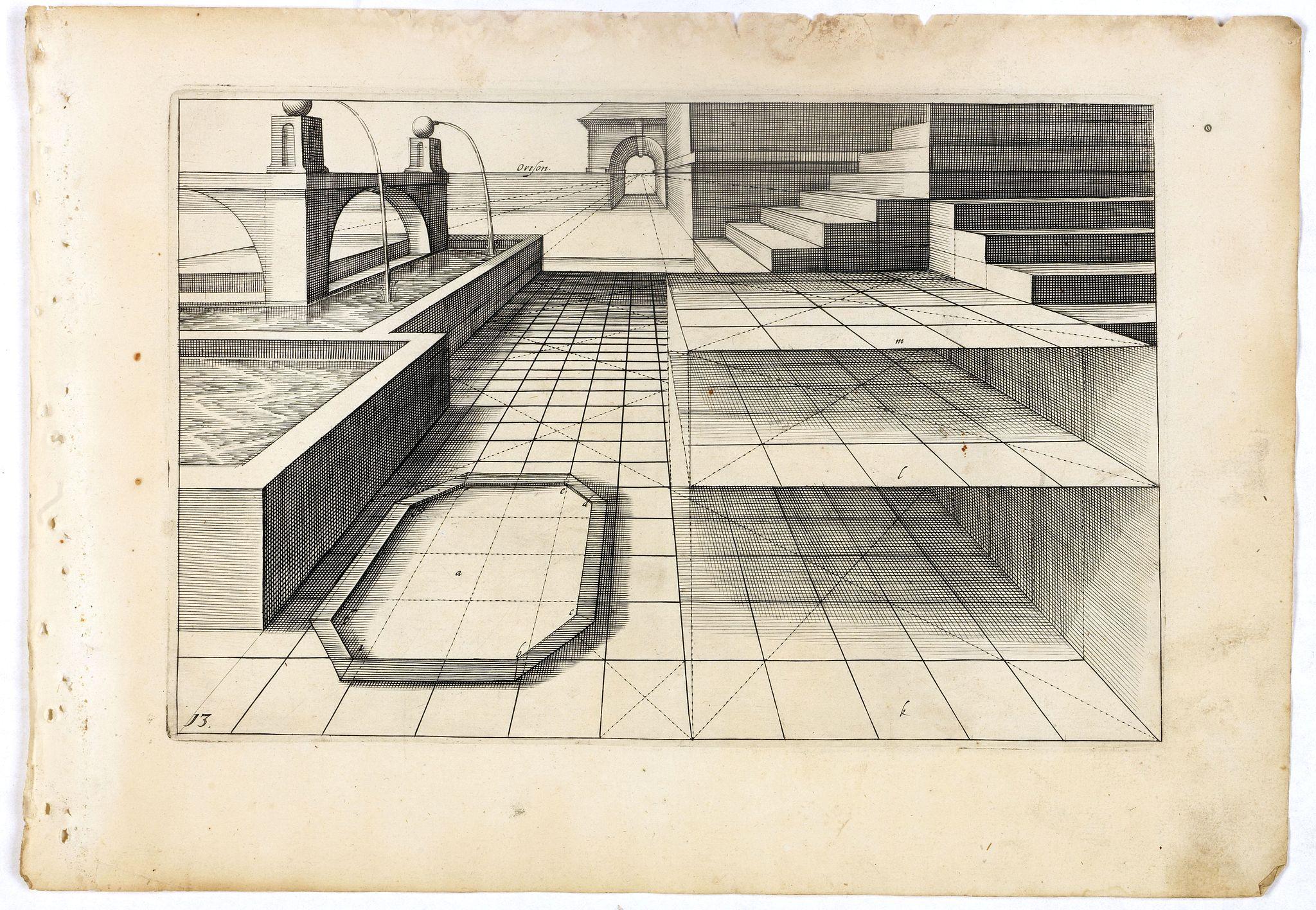 VREDEMAN DE VRIES, J. / HONDIUS, H. -  Perspective print by Vredeman de Vries. 13.