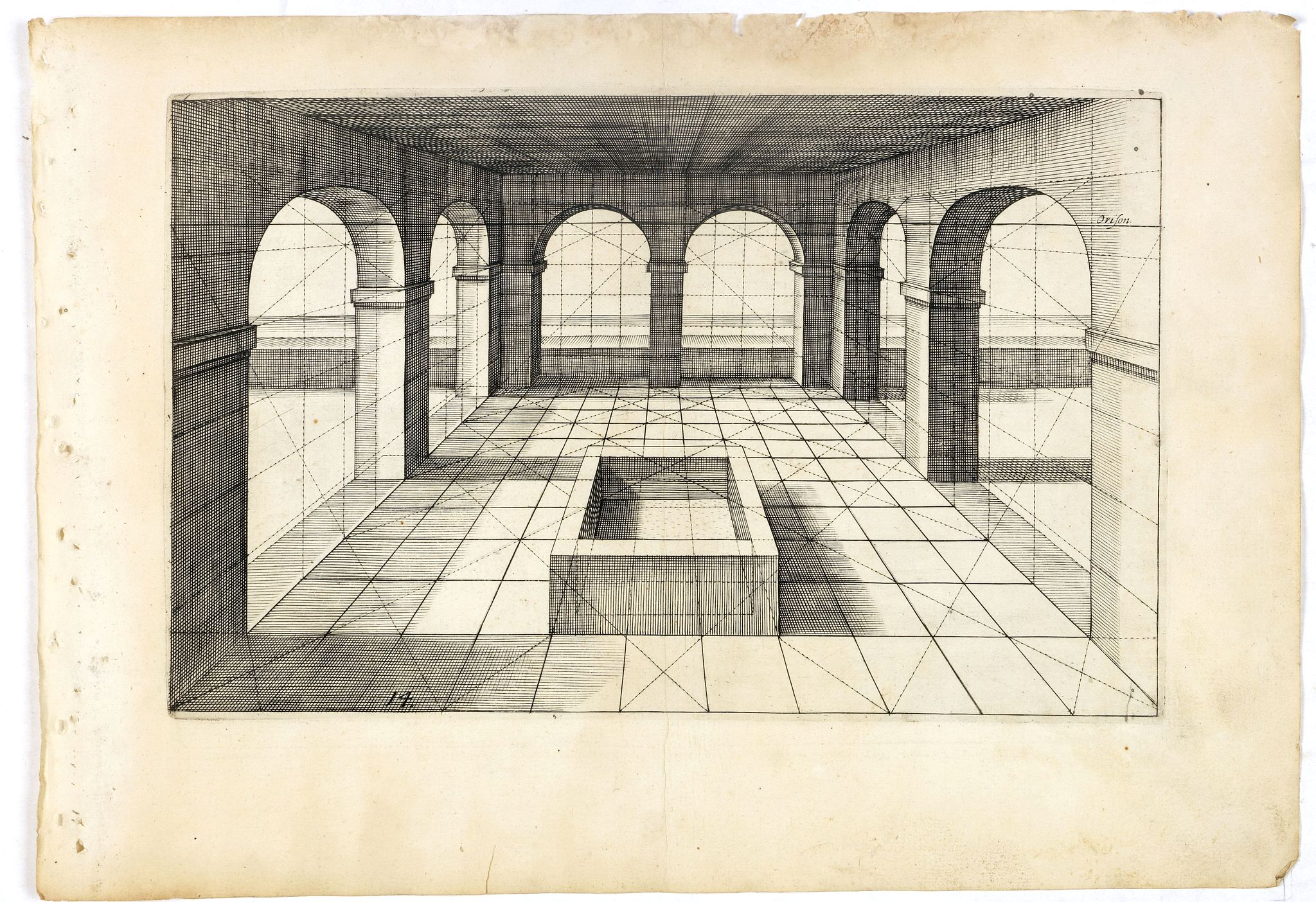 VREDEMAN DE VRIES, J. / HONDIUS, H. -  Perspective print by Vredeman de Vries. 14.