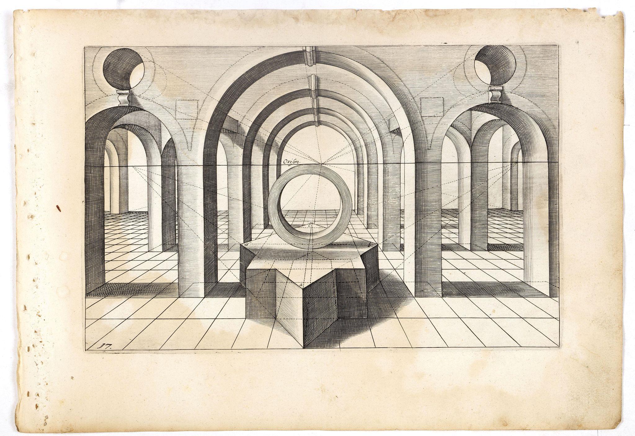 VREDEMAN DE VRIES, J. / HONDIUS, H. -  Perspective print by Vredeman de Vries. 17.