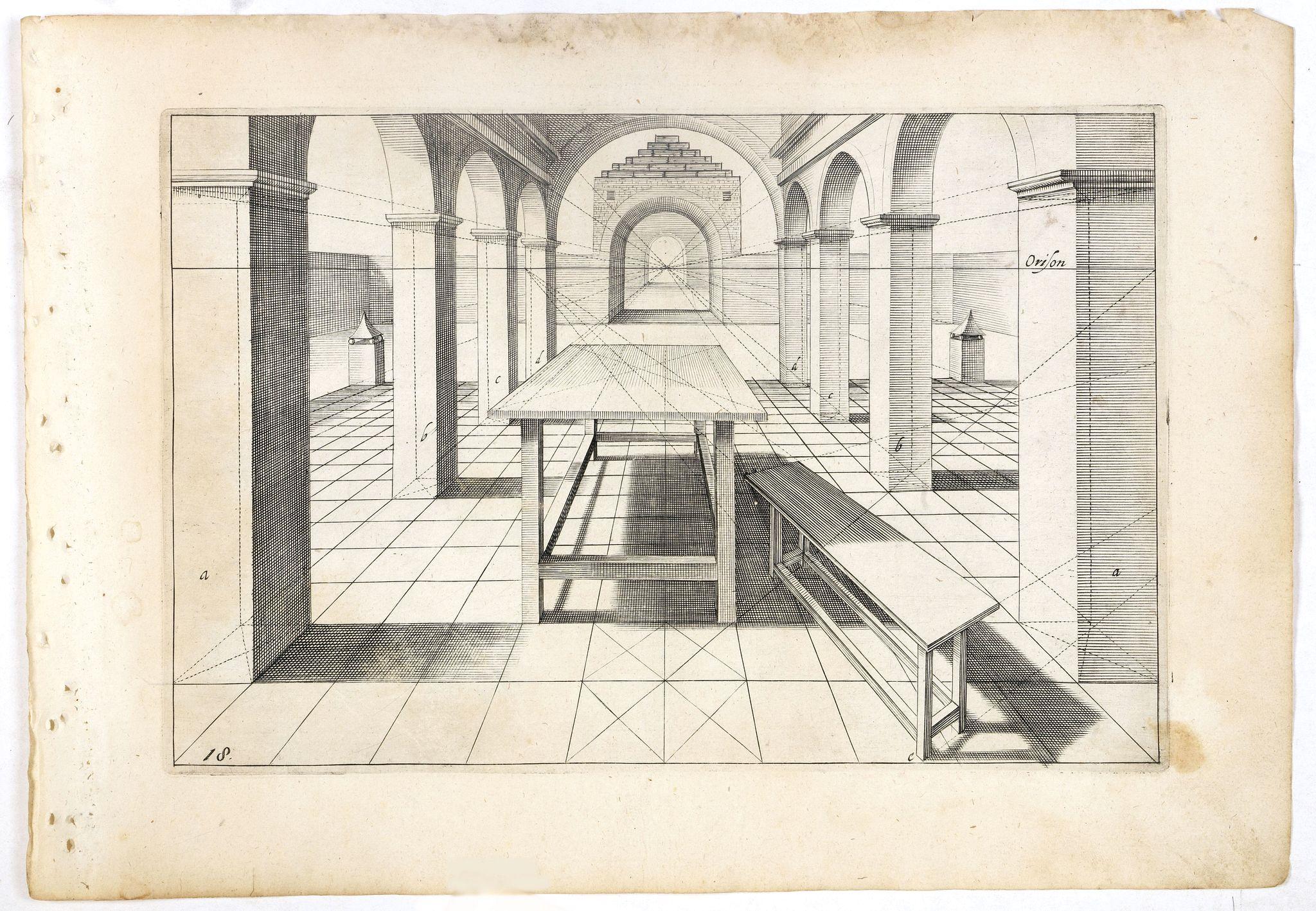 VREDEMAN DE VRIES, J. / HONDIUS, H. -  Perspective print by Vredeman de Vries. 18.