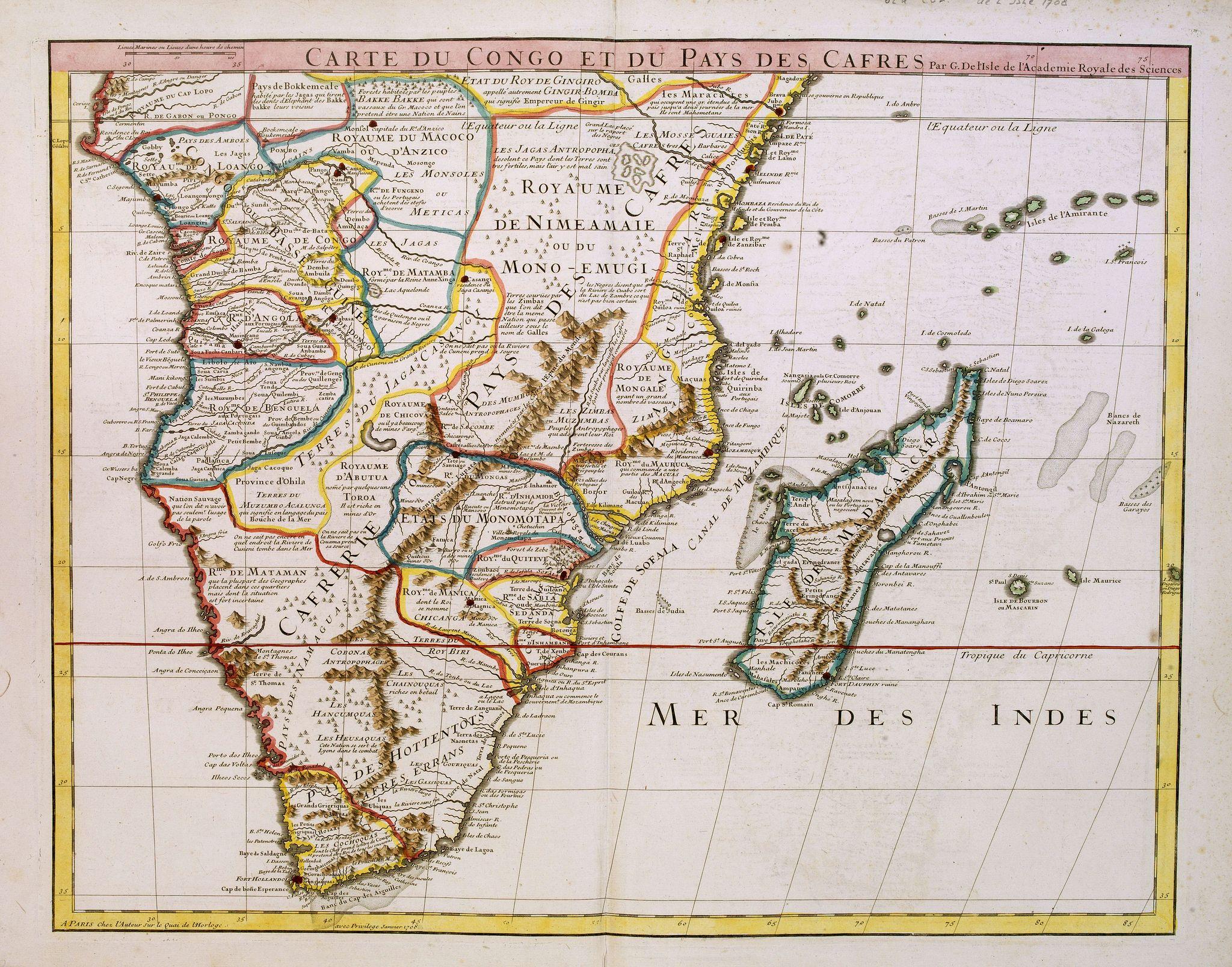DE L'ISLE. - Carte du Congo et du Pays des Cafres..